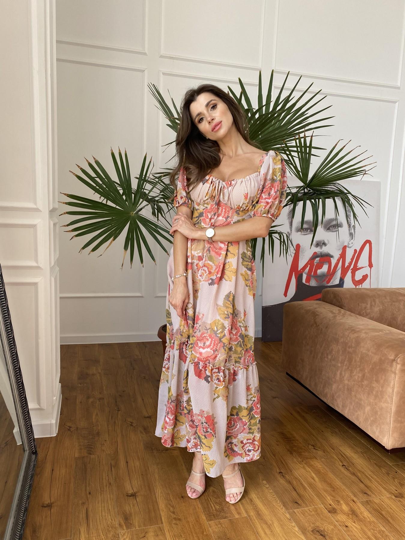 Лоретта платье из шифона в принт 11468 АРТ. 48252 Цвет: Беж.Св/Беж вышивка - фото 4, интернет магазин tm-modus.ru
