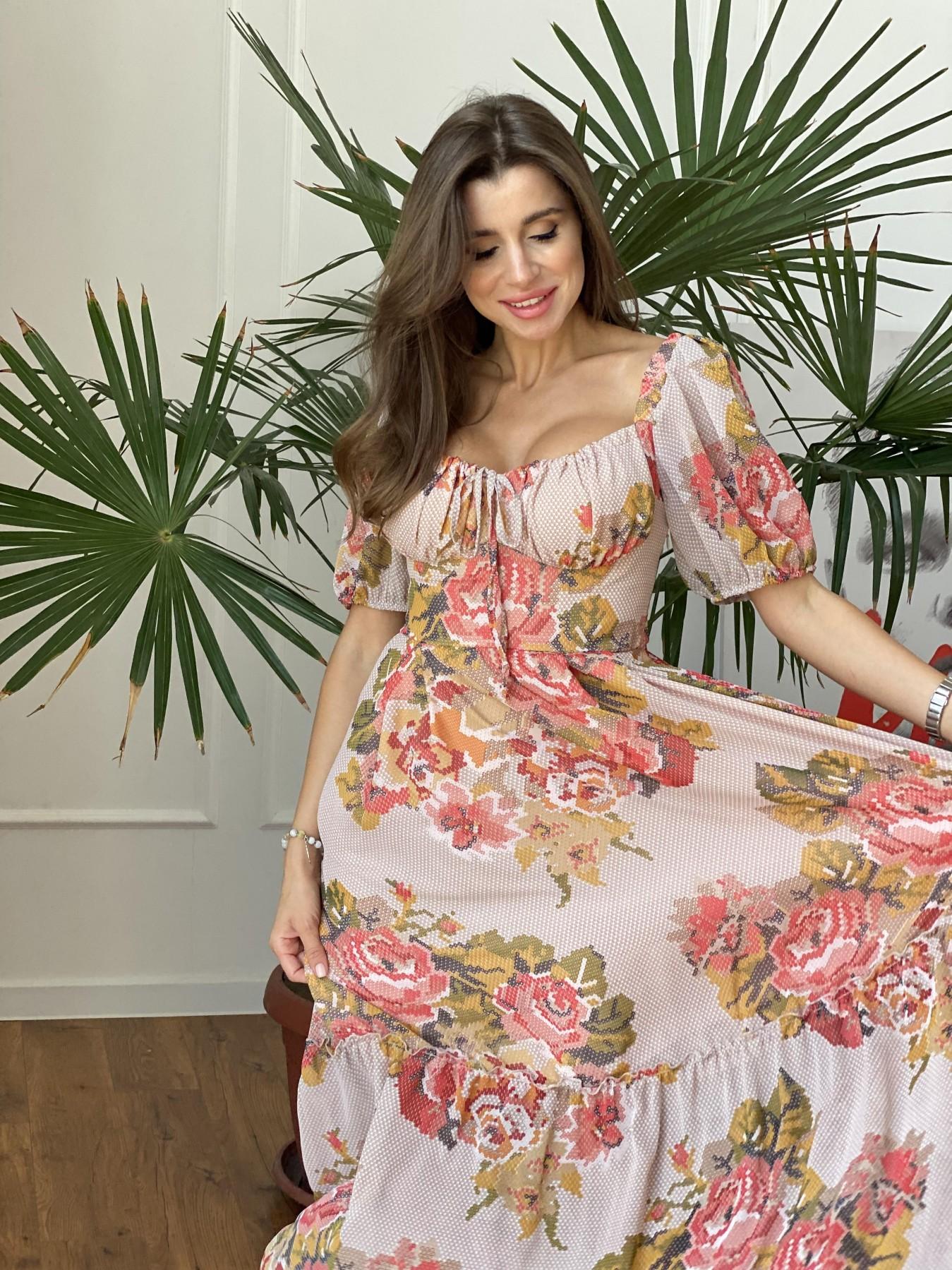 Лоретта платье из шифона в принт 11468 АРТ. 48252 Цвет: Беж.Св/Беж вышивка - фото 5, интернет магазин tm-modus.ru
