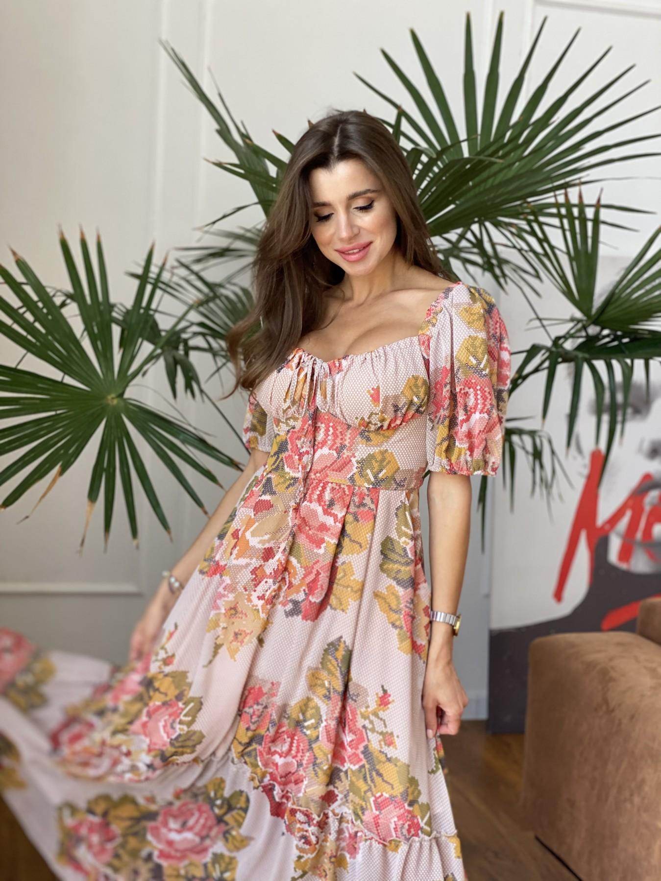 Лоретта платье из шифона в принт 11468 АРТ. 48252 Цвет: Беж.Св/Беж вышивка - фото 6, интернет магазин tm-modus.ru