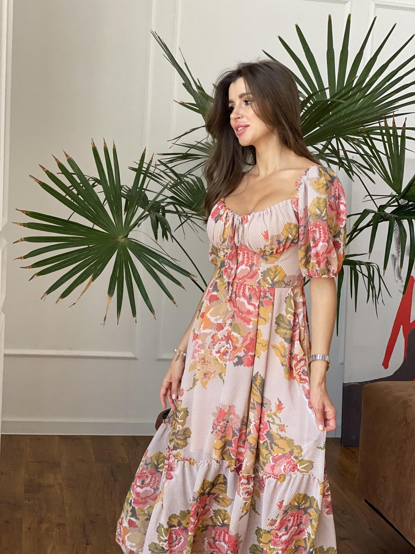 Лоретта платье из шифона в принт 11468 АРТ. 48252 Цвет: Беж.Св/Беж вышивка - фото 7, интернет магазин tm-modus.ru