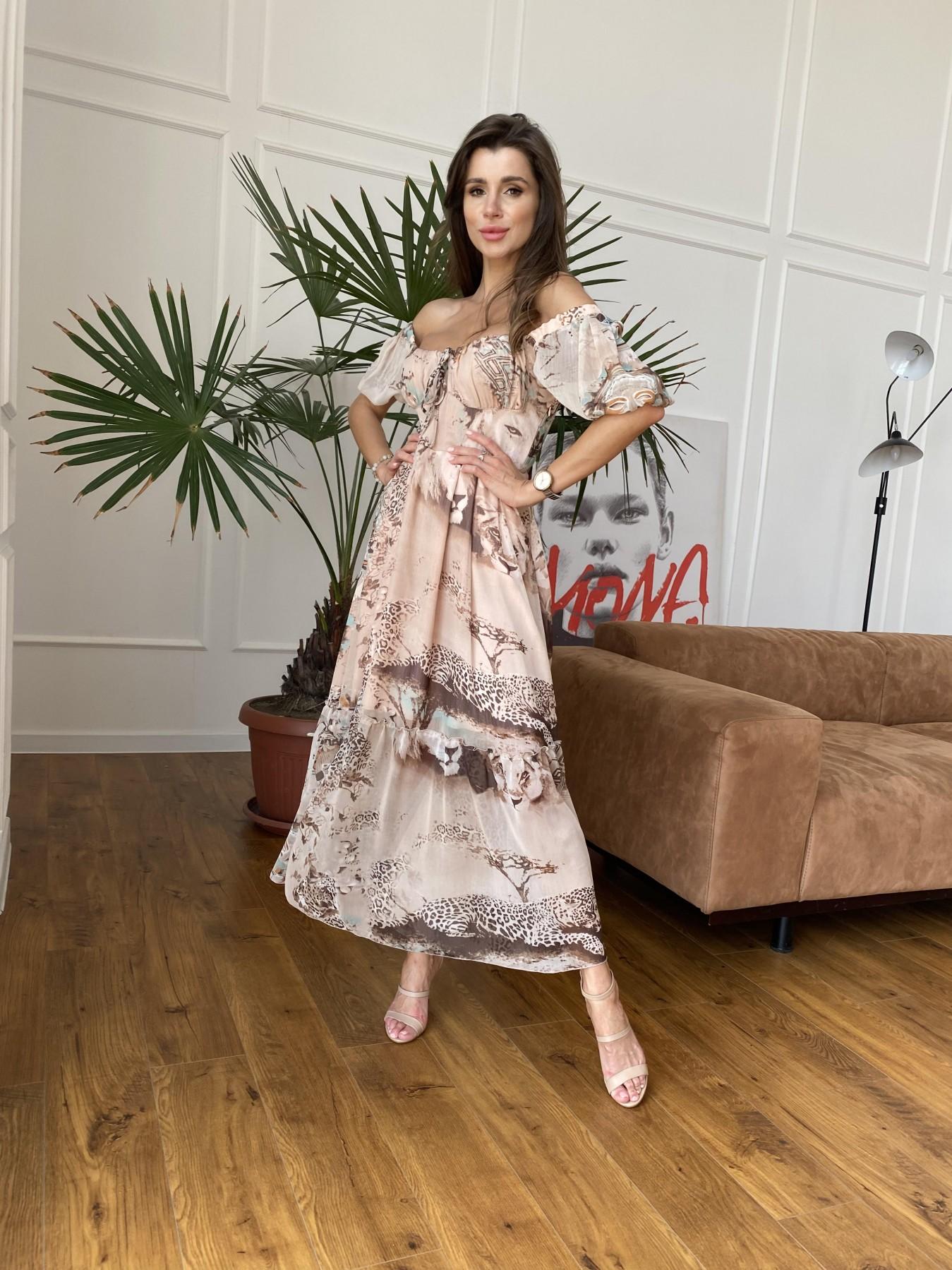 Лоретта платье из шифона в принт 11468 АРТ. 48265 Цвет: Бежевый/бирюзаЛеопард2 - фото 4, интернет магазин tm-modus.ru