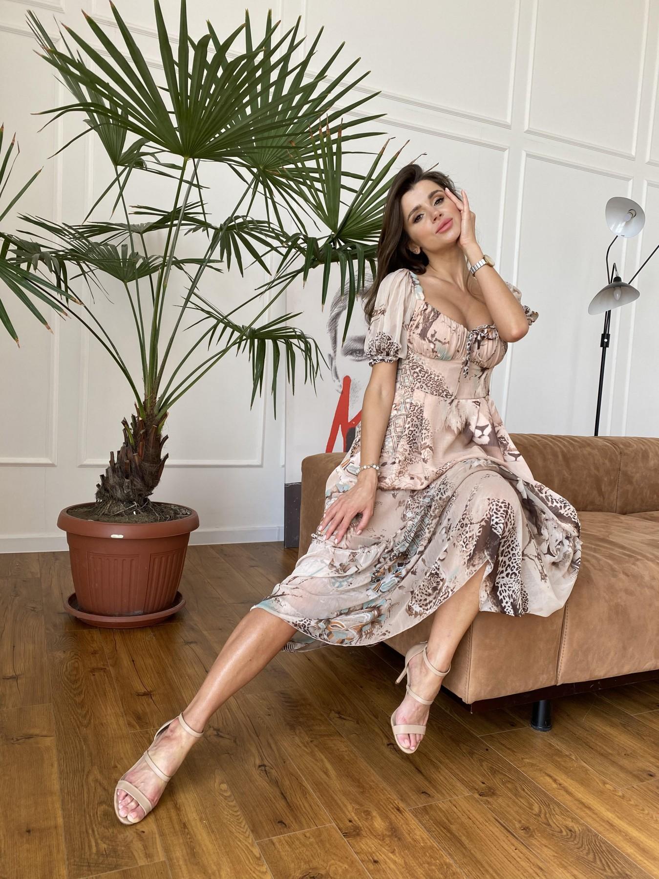 Лоретта платье из шифона в принт 11468 АРТ. 48265 Цвет: Бежевый/бирюзаЛеопард2 - фото 5, интернет магазин tm-modus.ru