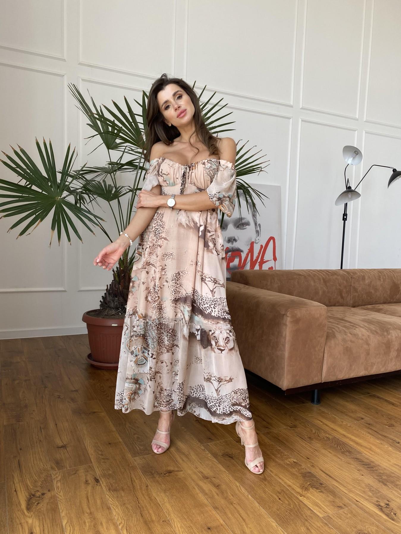 Лоретта платье из шифона в принт 11468 АРТ. 48265 Цвет: Бежевый/бирюзаЛеопард2 - фото 6, интернет магазин tm-modus.ru