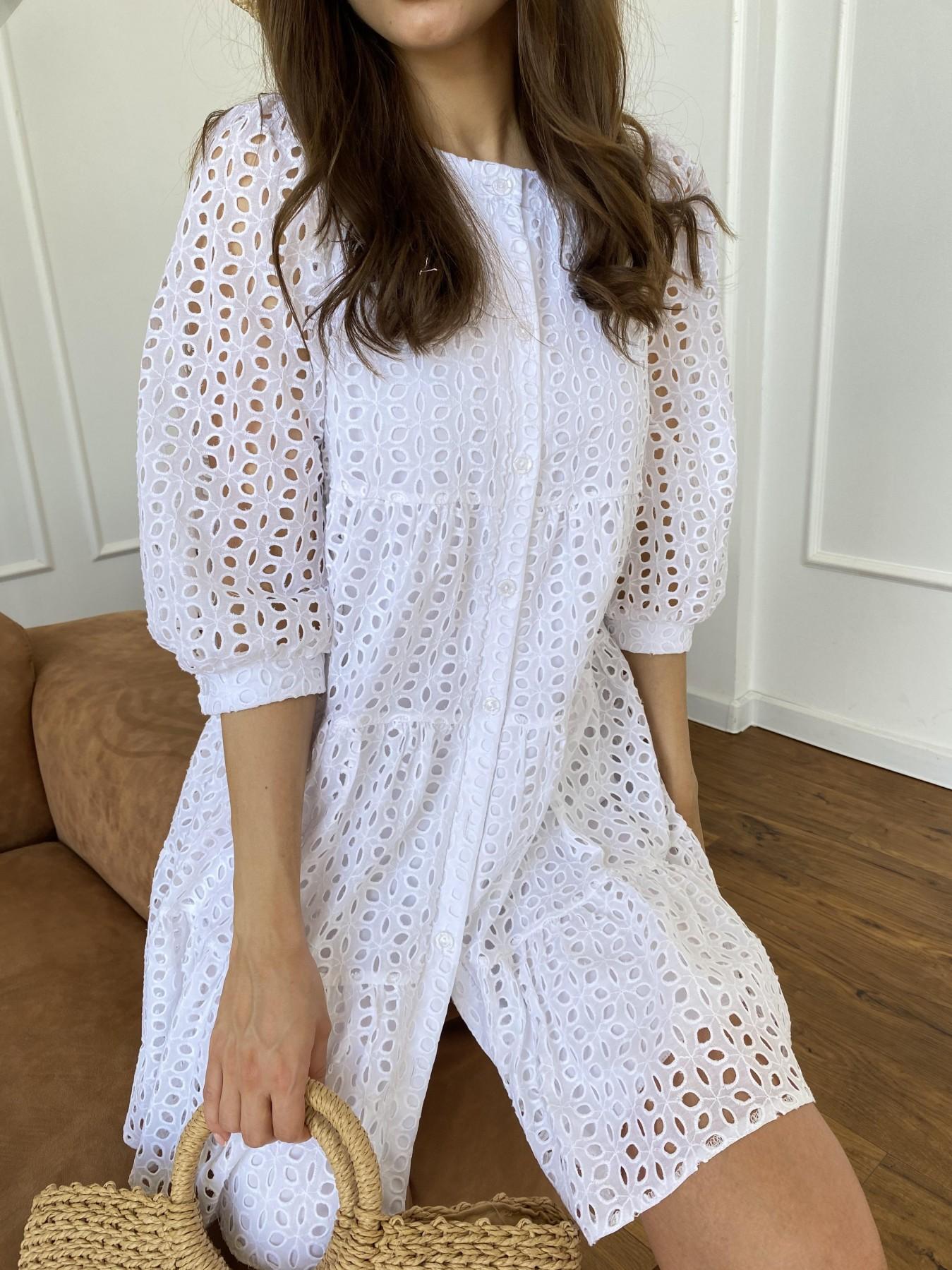 Берри платье из шитья 11490 АРТ. 48183 Цвет: Молоко/КрупЦветПерфор - фото 4, интернет магазин tm-modus.ru