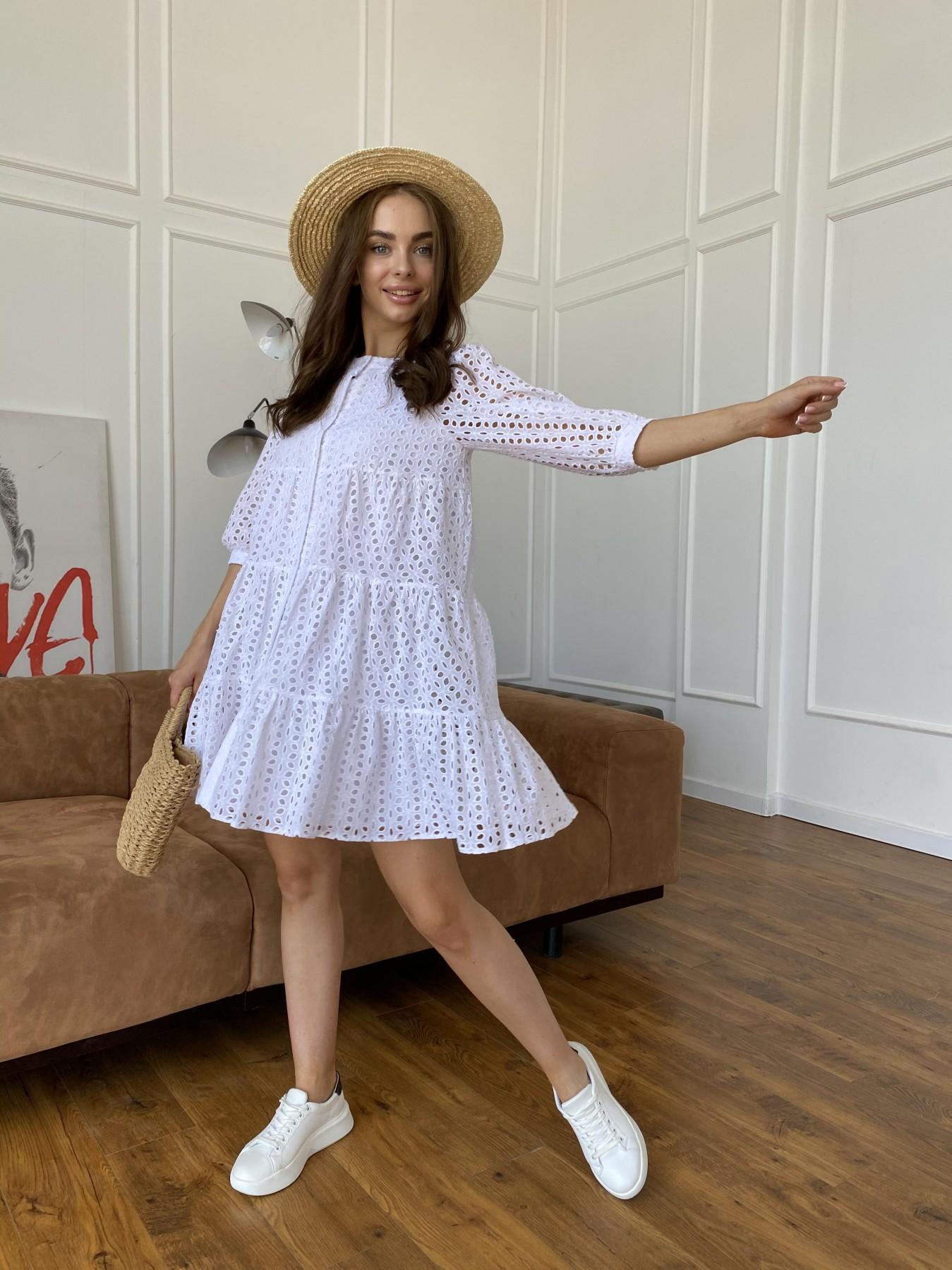 Берри платье из шитья 11490 АРТ. 48183 Цвет: Молоко/КрупЦветПерфор - фото 5, интернет магазин tm-modus.ru