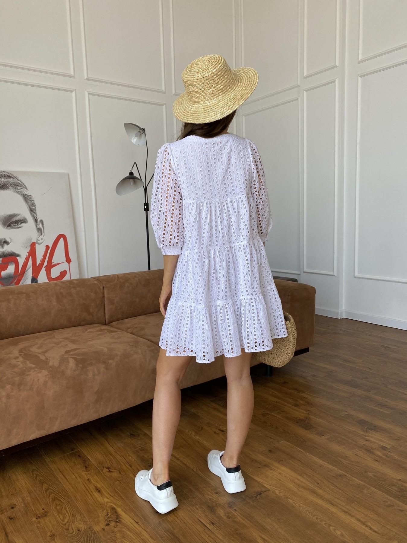 Берри платье из шитья 11490 АРТ. 48183 Цвет: Молоко/КрупЦветПерфор - фото 8, интернет магазин tm-modus.ru