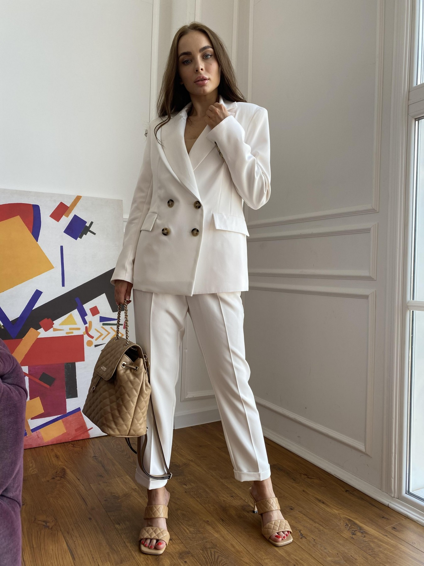 Франко деловой костюм из костюмной ткани 11090 АРТ. 47860 Цвет: Молоко 1 - фото 4, интернет магазин tm-modus.ru