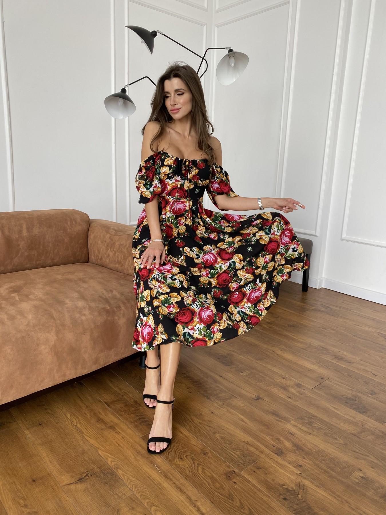 Кисес Миди платье из креп шифона в принт 11575 АРТ. 48253 Цвет: Черный вышивка 3 - фото 2, интернет магазин tm-modus.ru