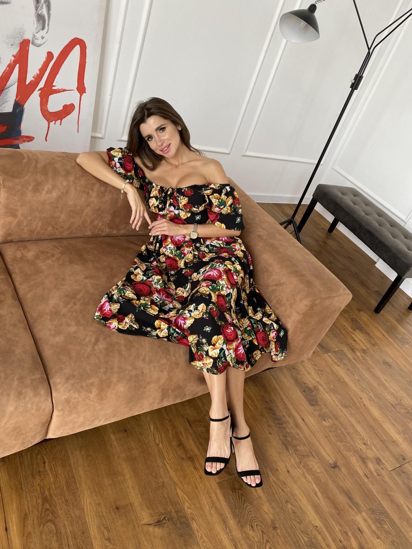 Кисес Миди платье из креп шифона в принт 11575 АРТ. 48253 Цвет: Черный вышивка 3 - фото 4, интернет магазин tm-modus.ru