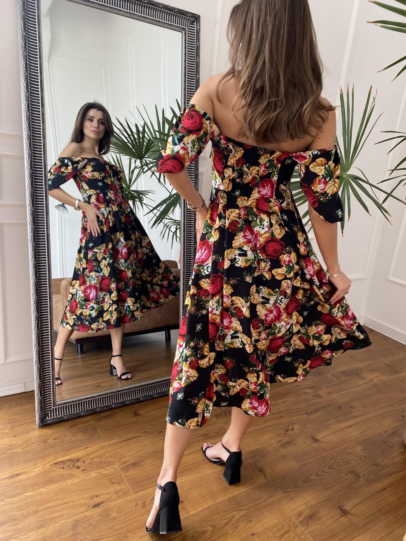 Кисес Миди платье из креп шифона в принт 11575 АРТ. 48253 Цвет: Черный вышивка 3 - фото 5, интернет магазин tm-modus.ru