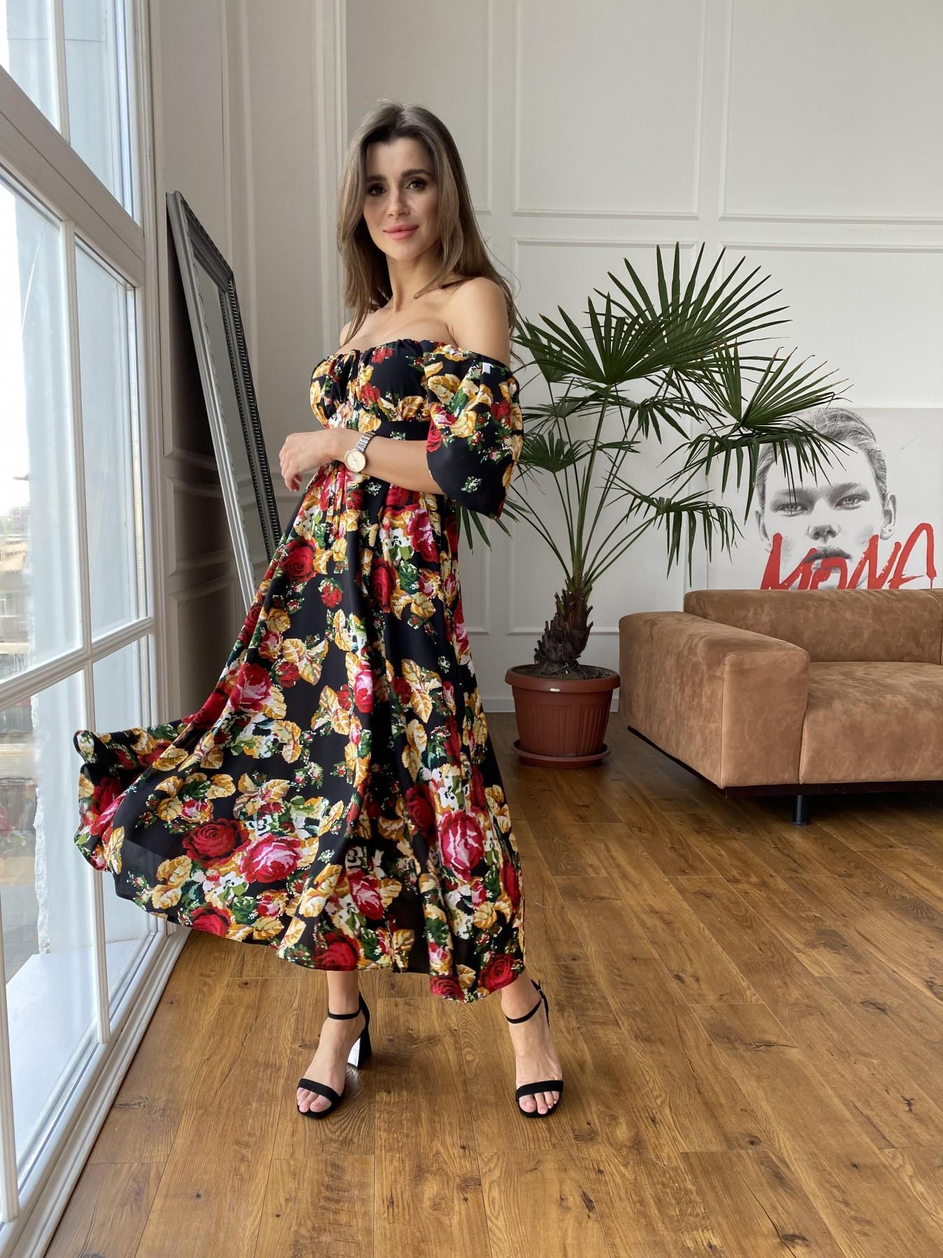 Кисес Миди платье из креп шифона в принт 11575 АРТ. 48253 Цвет: Черный вышивка 3 - фото 7, интернет магазин tm-modus.ru