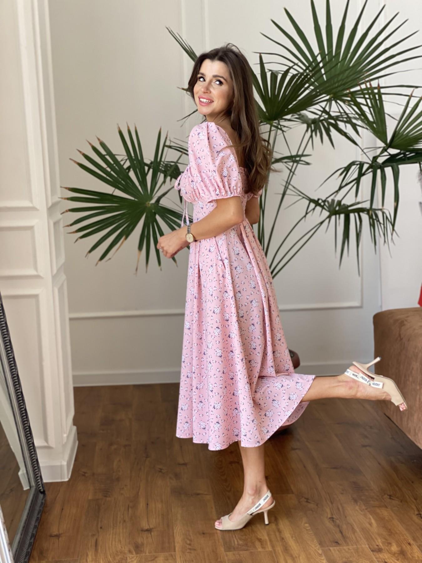 Кисес Миди платье из софт ткани в принт 11348 АРТ. 48189 Цвет: Пудра/белый/синийЦвМелк - фото 4, интернет магазин tm-modus.ru
