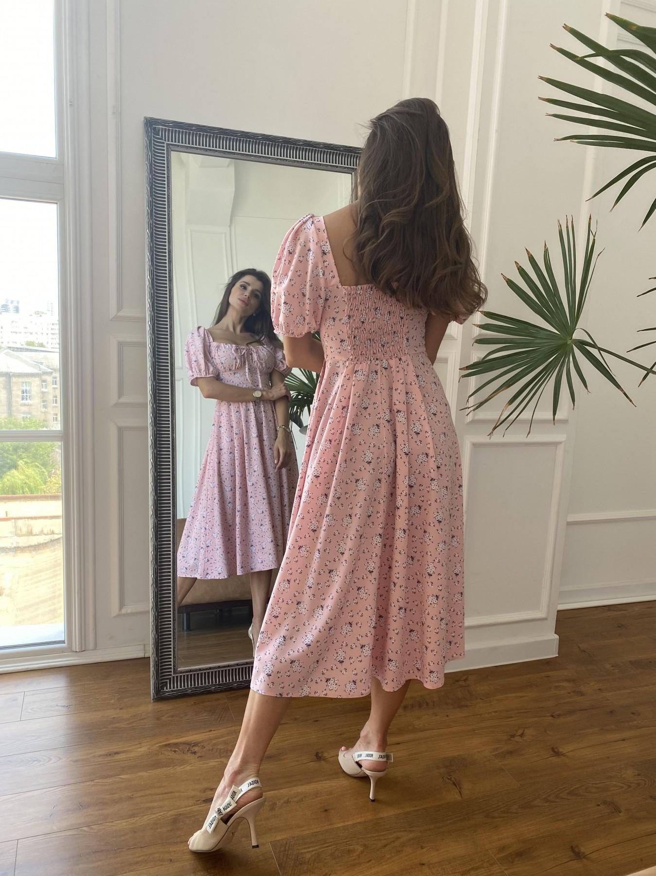 Кисес Миди платье из софт ткани в принт 11348 АРТ. 48189 Цвет: Пудра/белый/синийЦвМелк - фото 6, интернет магазин tm-modus.ru