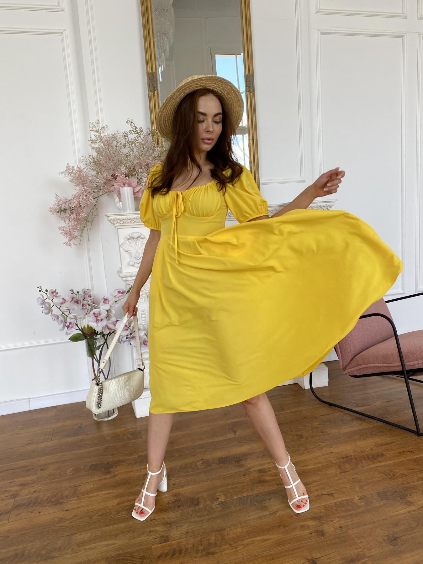 Кисес Миди платье из шифона креп 11443 АРТ. 48205 Цвет: Желтый 14 - фото 2, интернет магазин tm-modus.ru