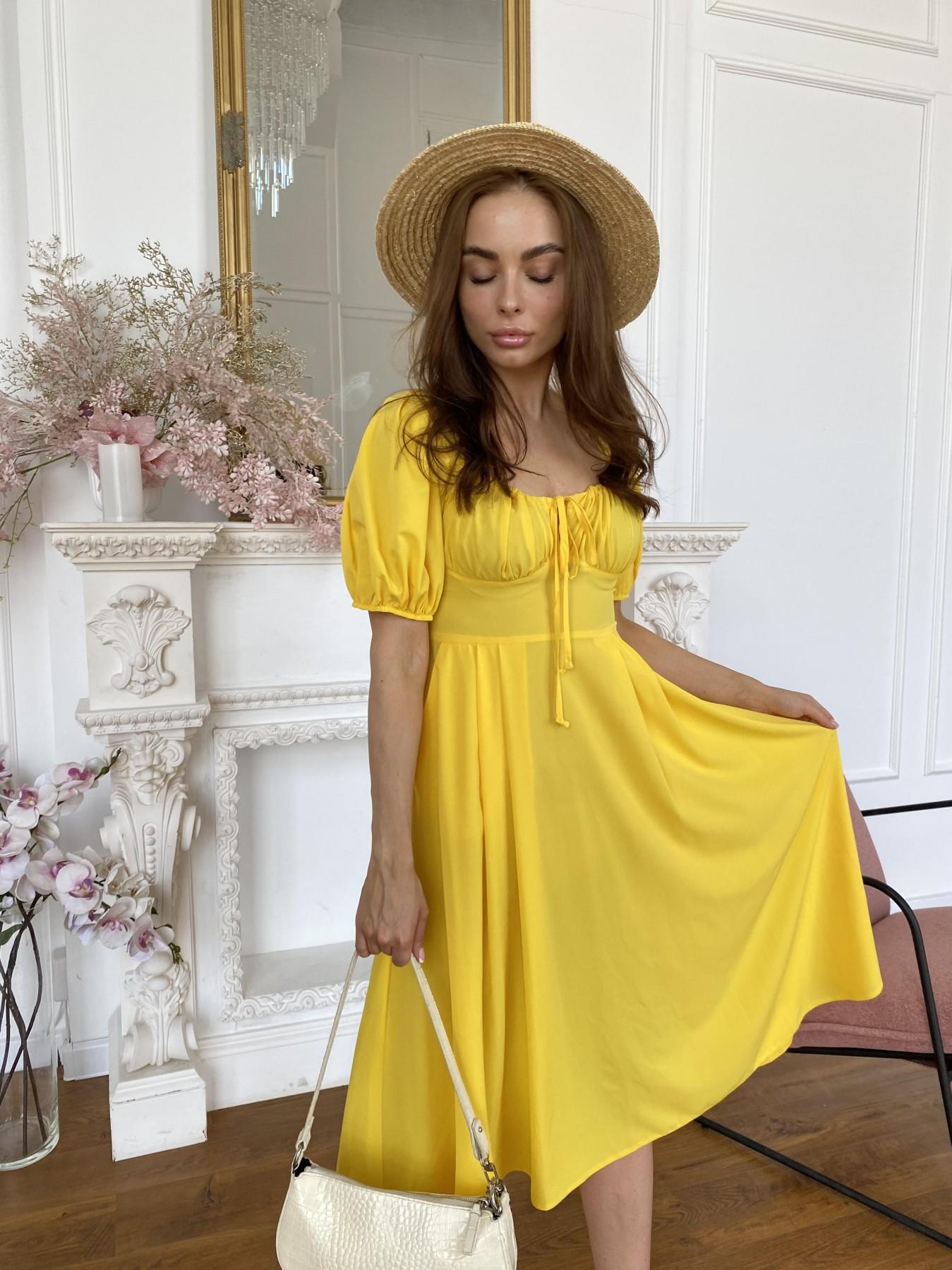 Кисес Миди платье из шифона креп 11443 АРТ. 48205 Цвет: Желтый 14 - фото 4, интернет магазин tm-modus.ru