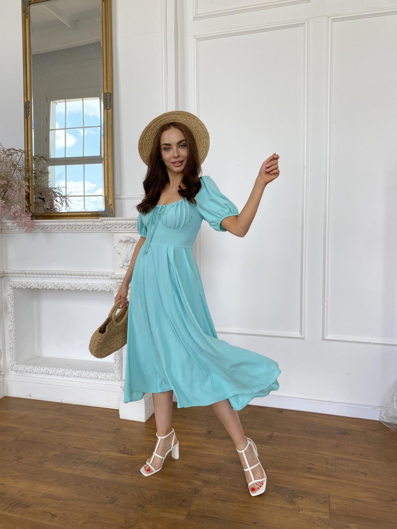 Кисес Миди платье из крепа х/б стрейч 11577 АРТ. 48254 Цвет: Мята - фото 2, интернет магазин tm-modus.ru