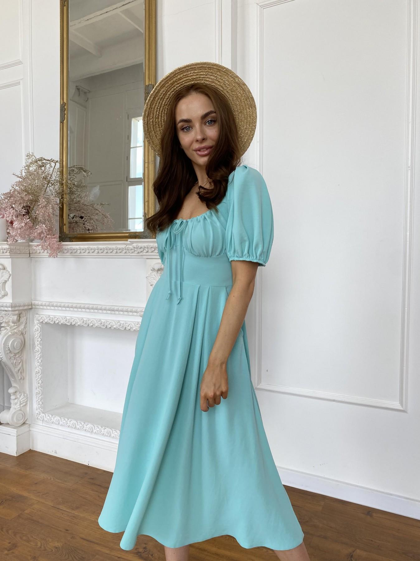 Кисес Миди платье из крепа х/б стрейч 11577 АРТ. 48254 Цвет: Мята - фото 4, интернет магазин tm-modus.ru