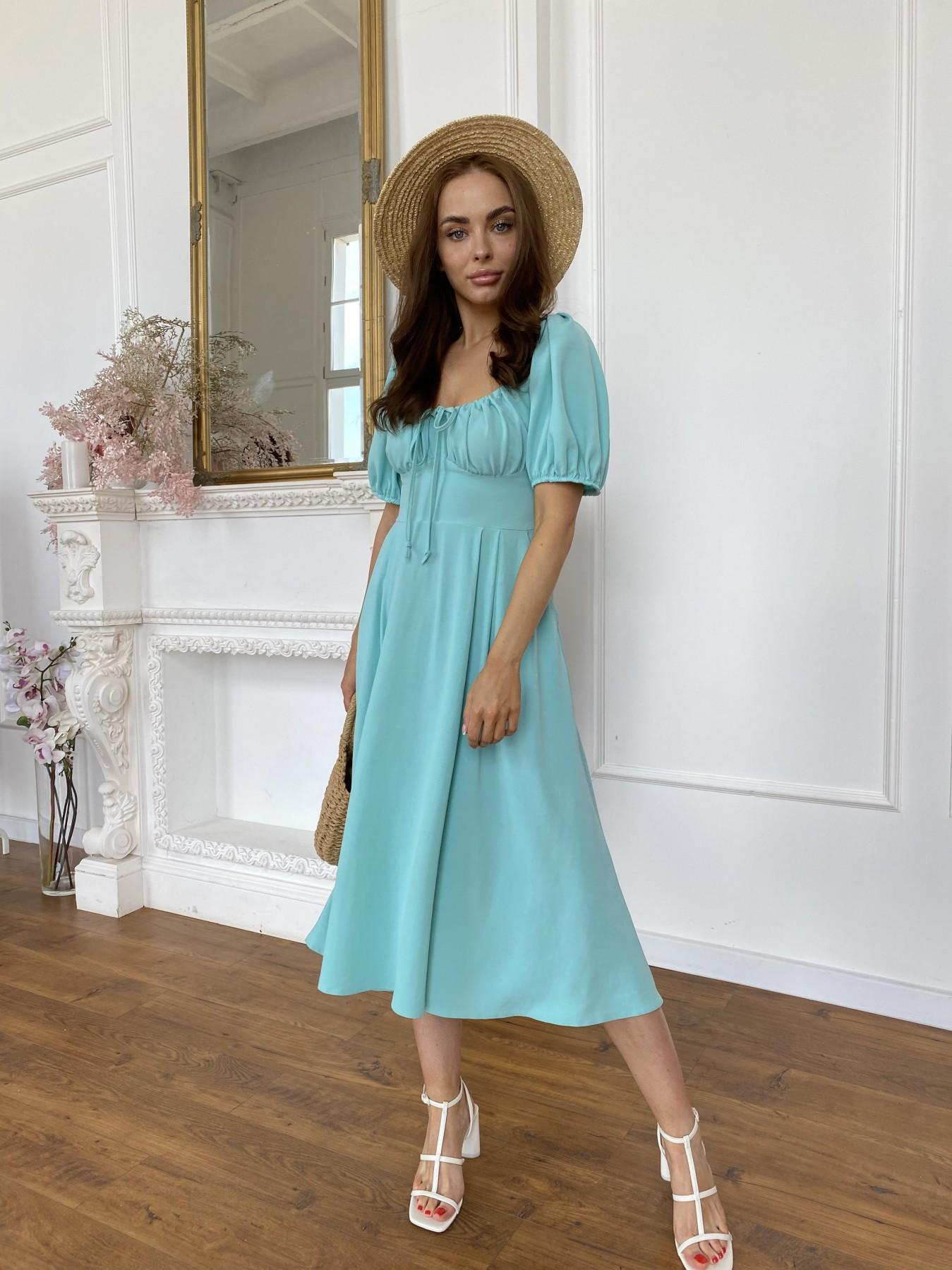 Кисес Миди платье из крепа х/б стрейч 11577 АРТ. 48254 Цвет: Мята - фото 5, интернет магазин tm-modus.ru
