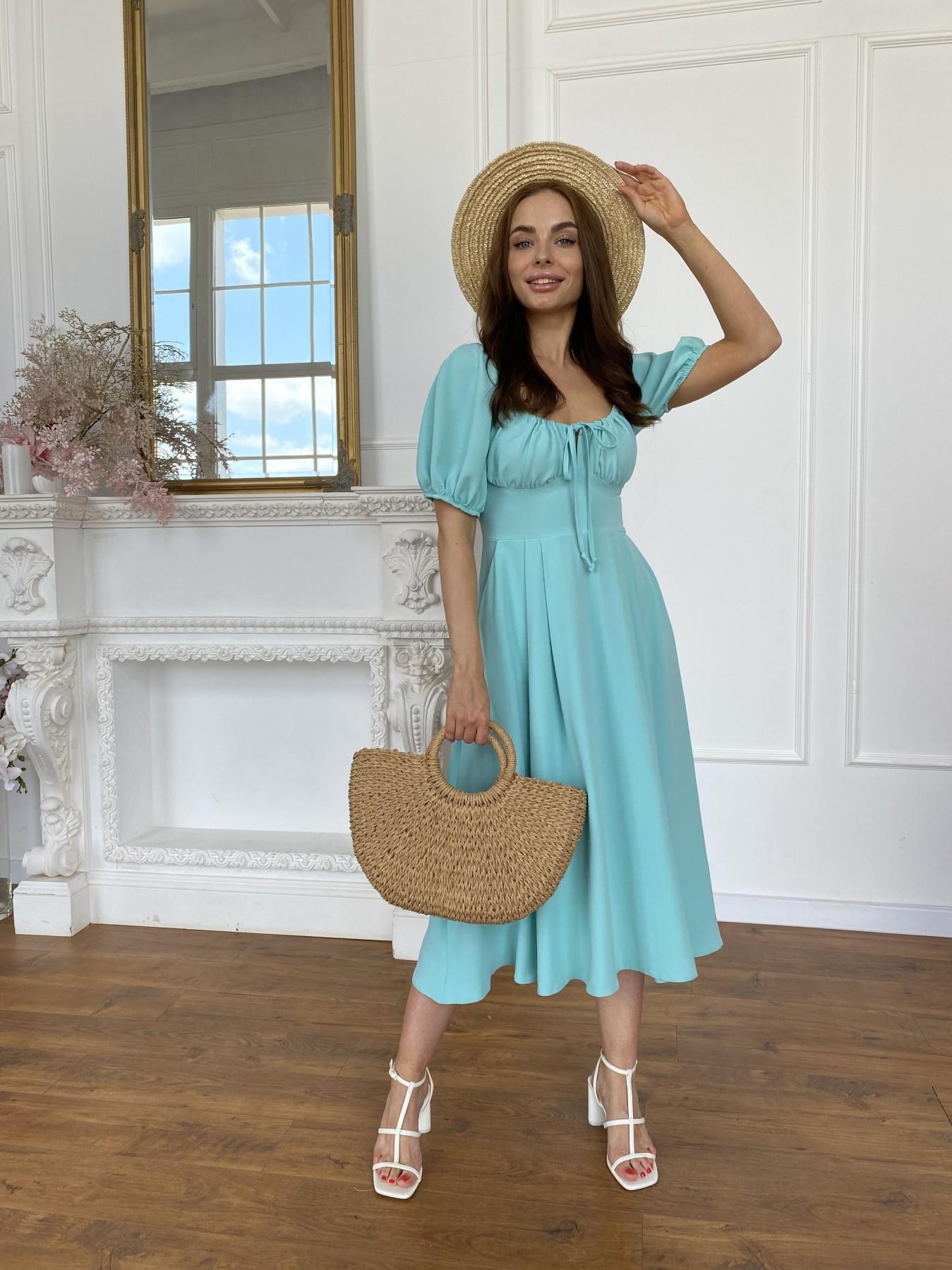 Кисес Миди платье из крепа х/б стрейч 11577 АРТ. 48254 Цвет: Мята - фото 7, интернет магазин tm-modus.ru