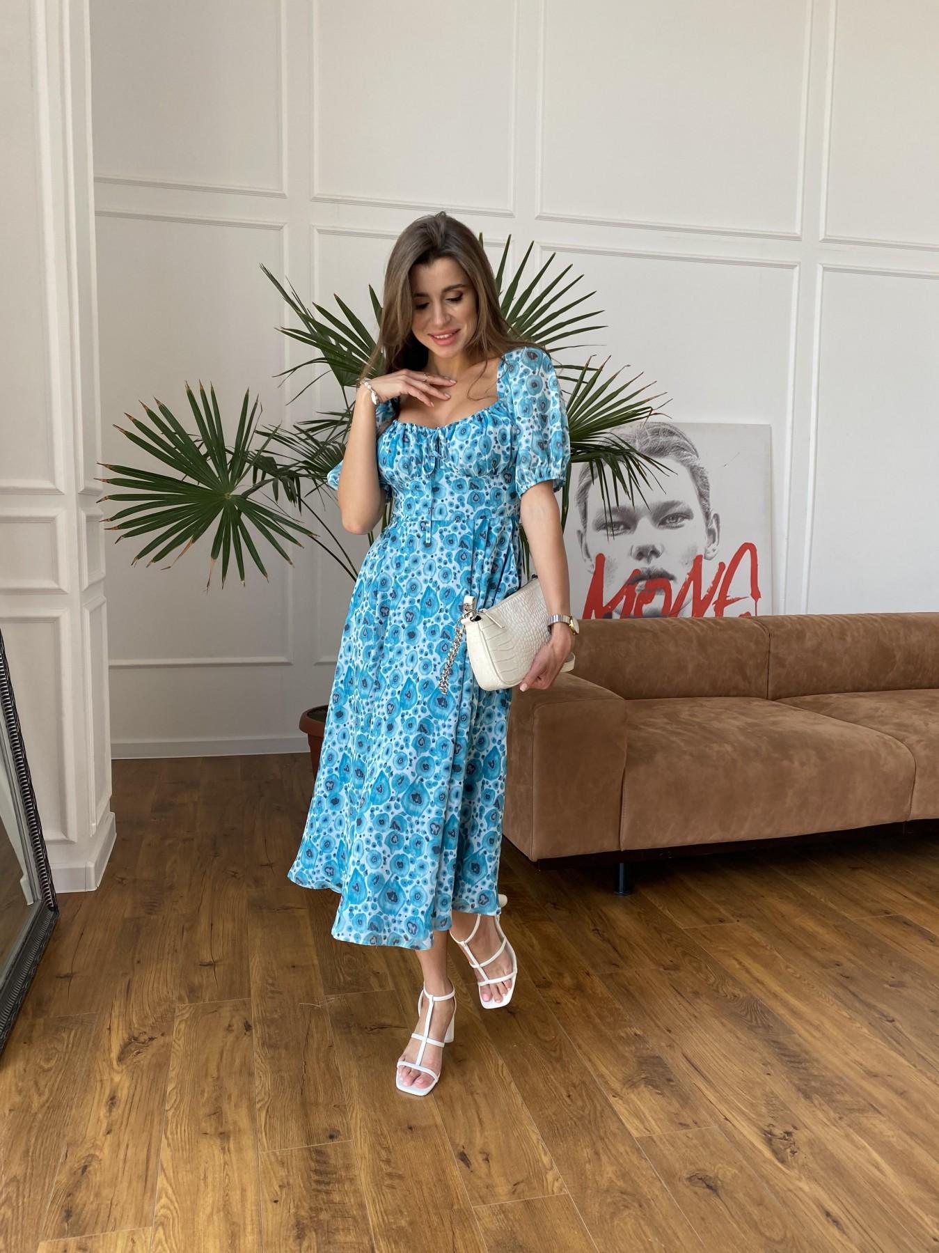 Кисес Миди платье из креп шифона в принт 11575 АРТ. 48269 Цвет: Маки/ Бирюза - фото 1, интернет магазин tm-modus.ru