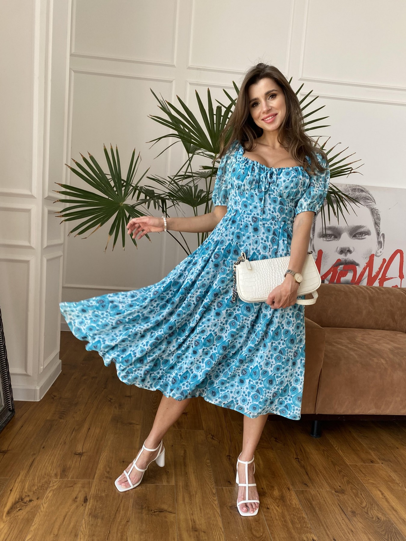Кисес Миди платье из креп шифона в принт 11575 АРТ. 48269 Цвет: Маки/ Бирюза - фото 2, интернет магазин tm-modus.ru