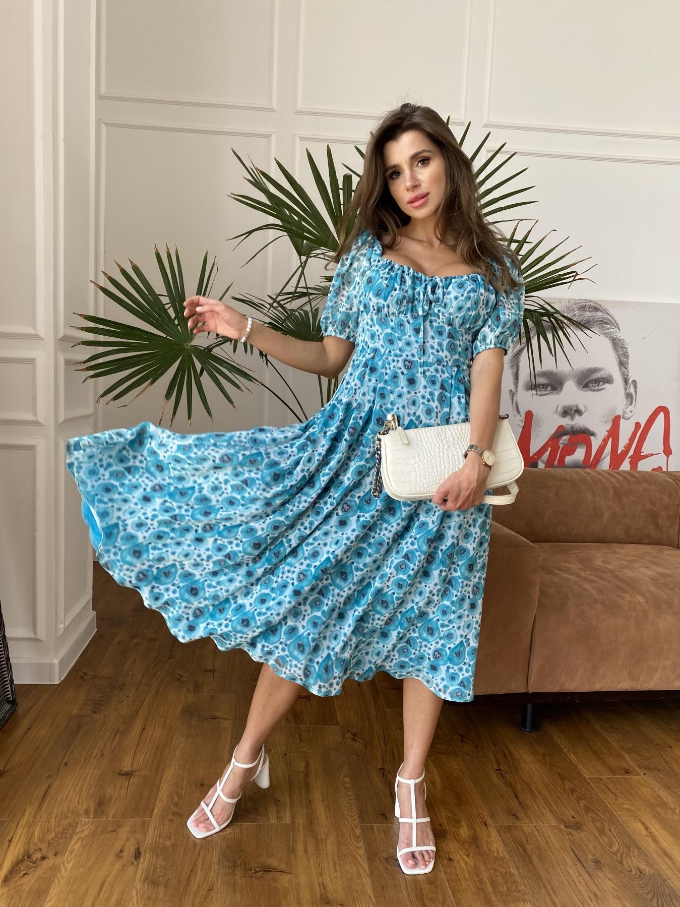 Кисес Миди платье из креп шифона в принт 11575 АРТ. 48269 Цвет: Маки/ Бирюза - фото 3, интернет магазин tm-modus.ru