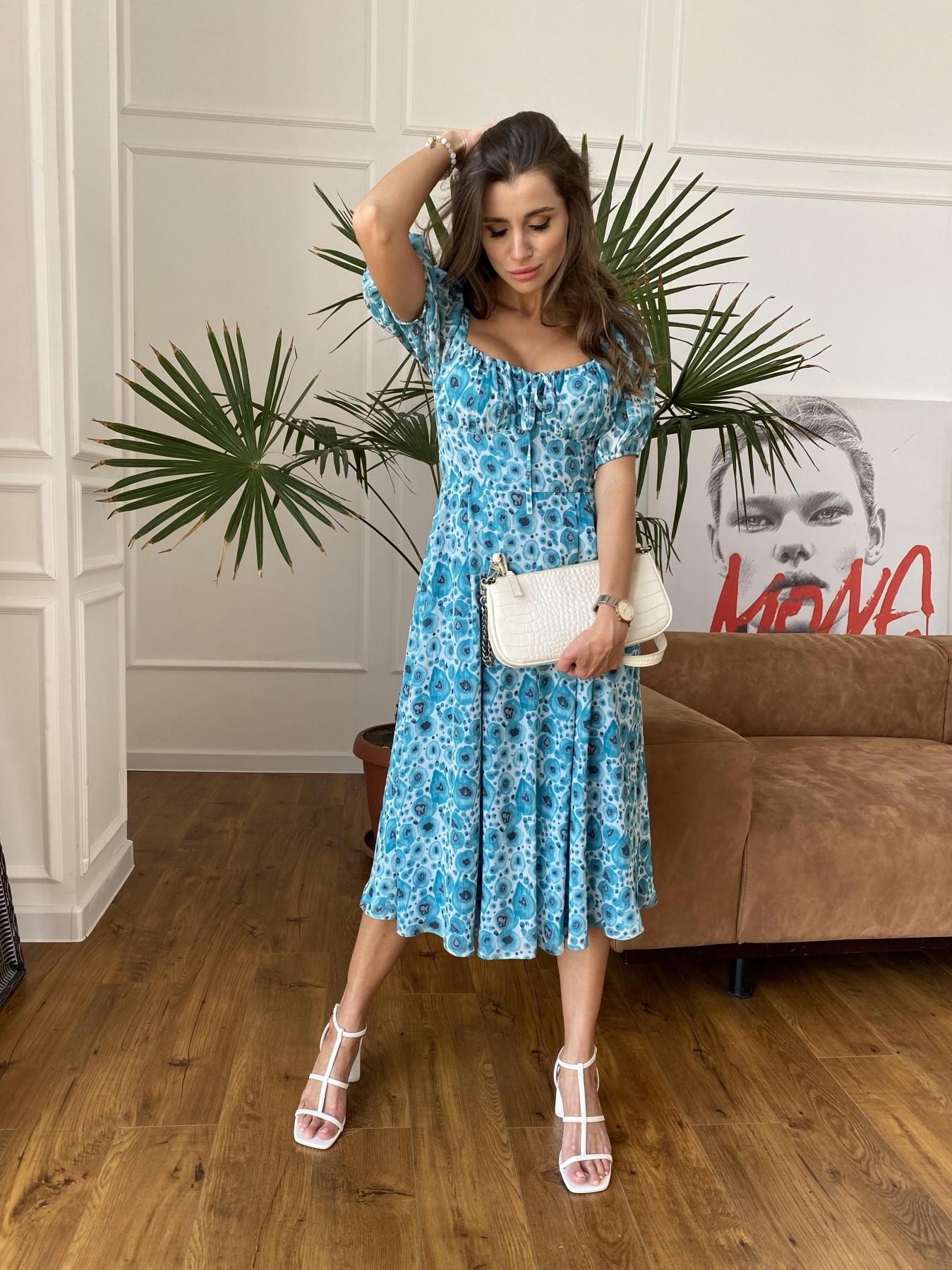 Кисес Миди платье из креп шифона в принт 11575 АРТ. 48269 Цвет: Маки/ Бирюза - фото 5, интернет магазин tm-modus.ru