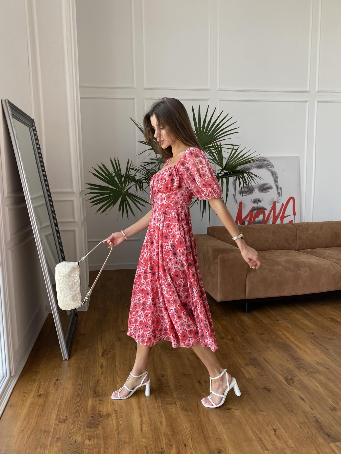 Кисес Миди платье из креп шифона в принт 11575 АРТ. 48268 Цвет: Маки/ Красный - фото 1, интернет магазин tm-modus.ru