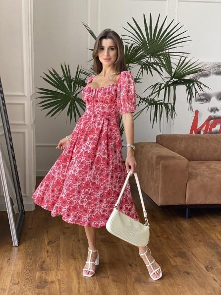 """Купить """"Кисес Миди"""" платье из креп шифона в принт 11575 оптом и в розницу"""