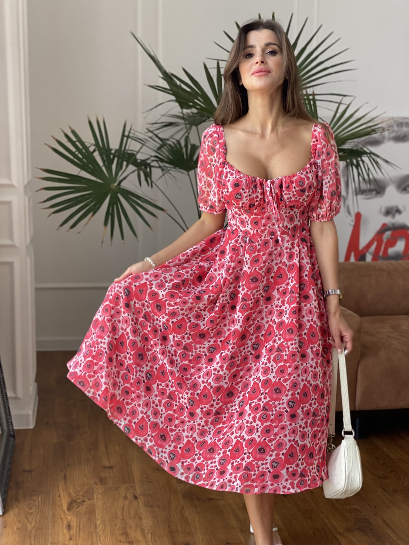 Кисес Миди платье из креп шифона в принт 11575 АРТ. 48268 Цвет: Маки/ Красный - фото 7, интернет магазин tm-modus.ru