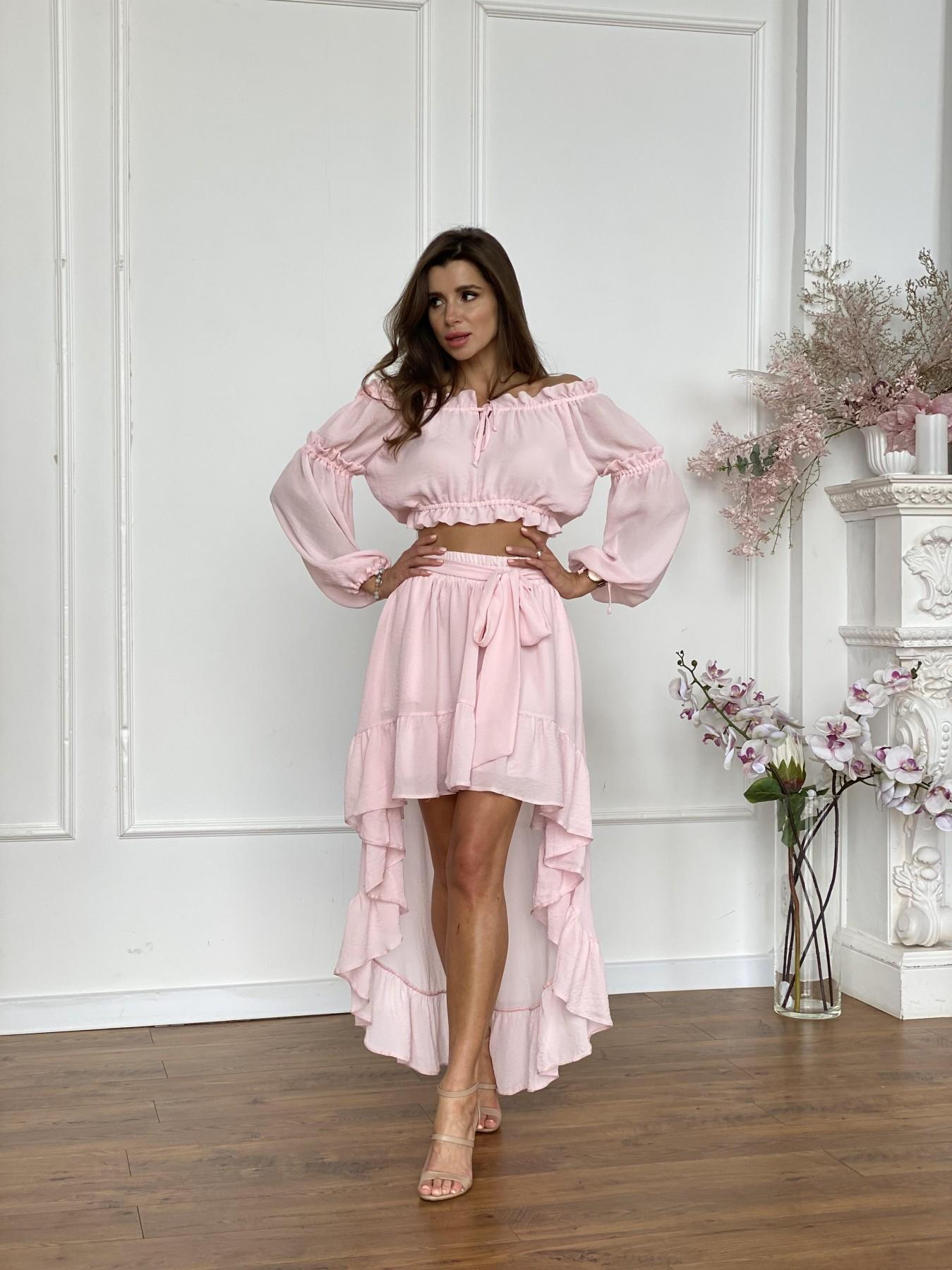 Шалер костюм из креп креш жоржет 11566 АРТ. 48243 Цвет: Розовый Светлый - фото 1, интернет магазин tm-modus.ru