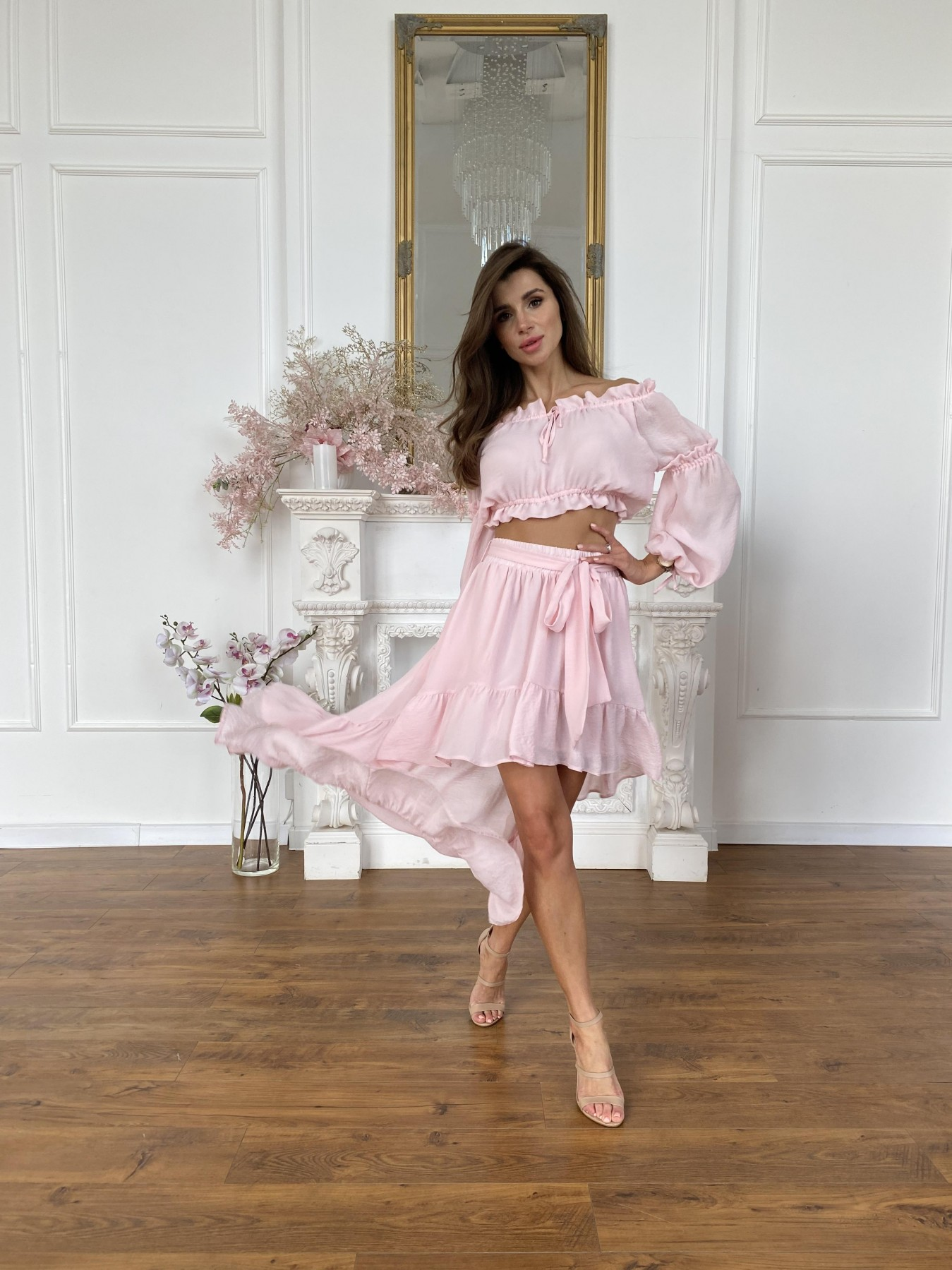 Шалер костюм из креп креш жоржет 11566 АРТ. 48243 Цвет: Розовый Светлый - фото 7, интернет магазин tm-modus.ru