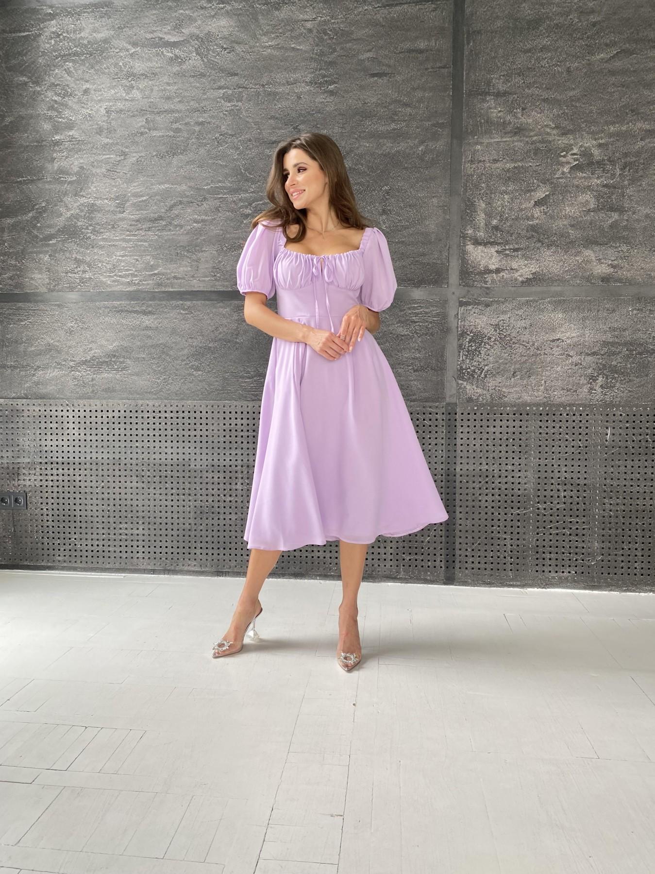 Кисес Миди платье из шифона креп 11443 АРТ. 48311 Цвет: Лаванда - фото 1, интернет магазин tm-modus.ru