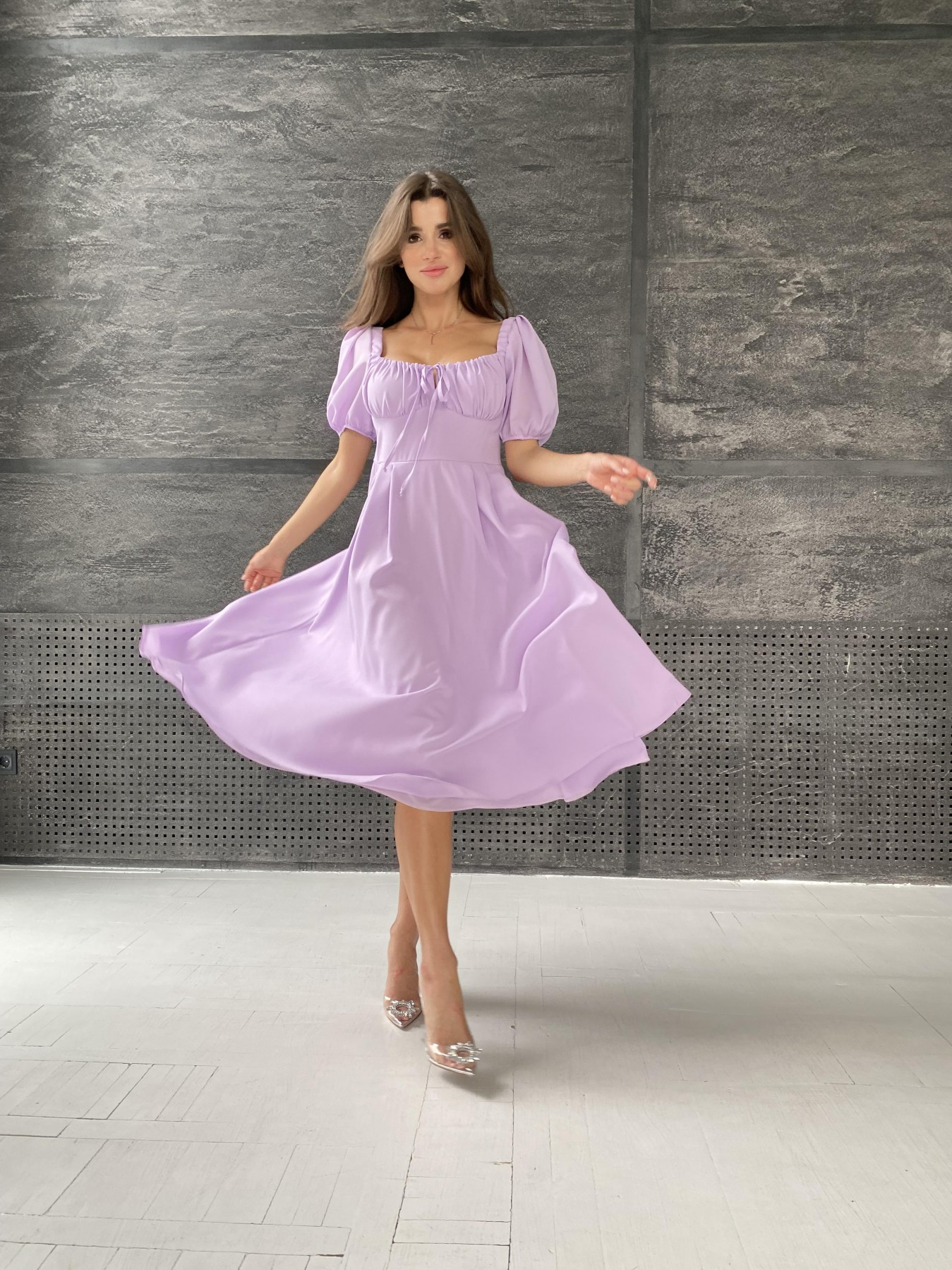 Кисес Миди платье из шифона креп 11443 АРТ. 48311 Цвет: Лаванда - фото 3, интернет магазин tm-modus.ru