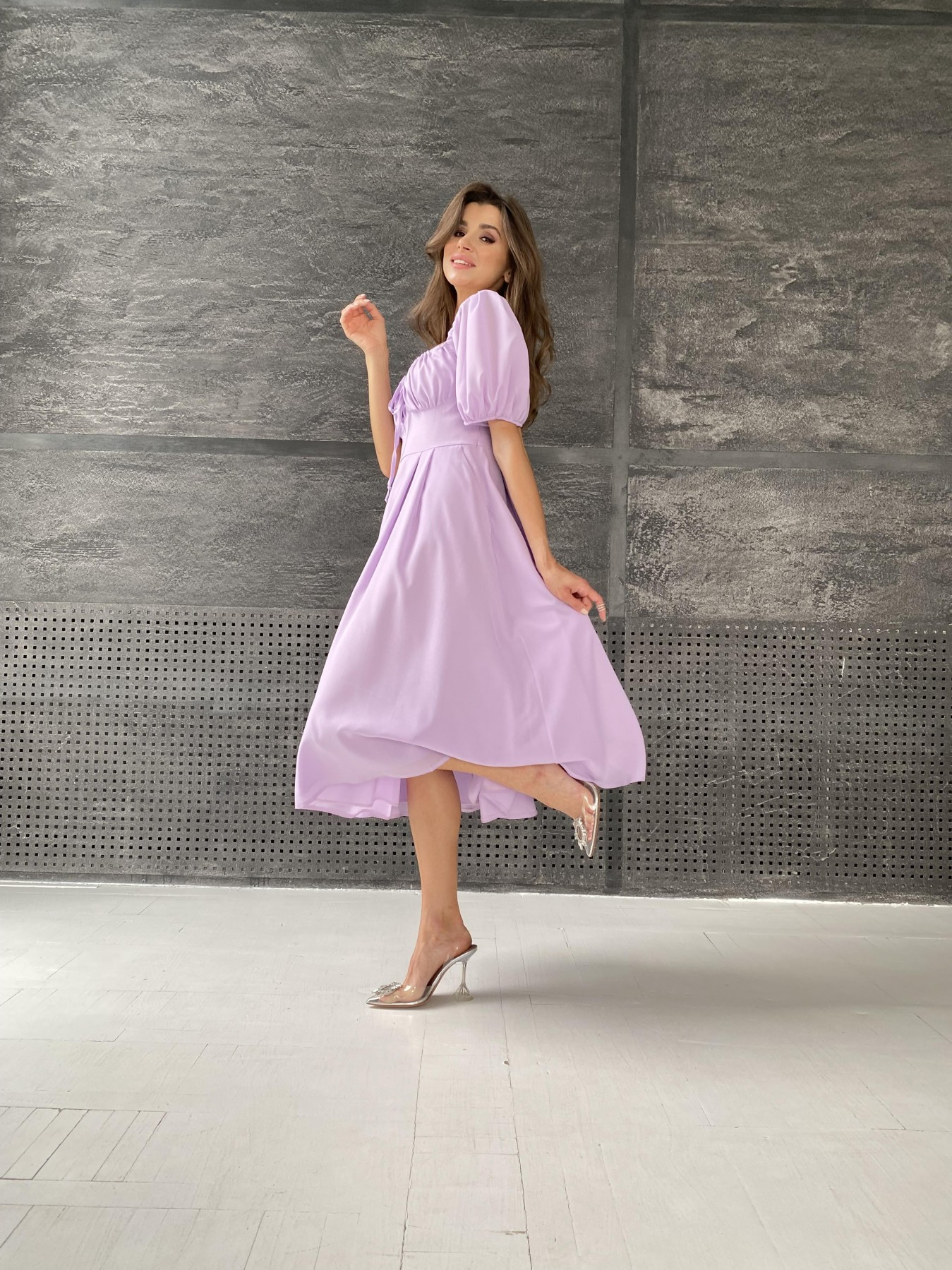 Кисес Миди платье из шифона креп 11443 АРТ. 48311 Цвет: Лаванда - фото 4, интернет магазин tm-modus.ru