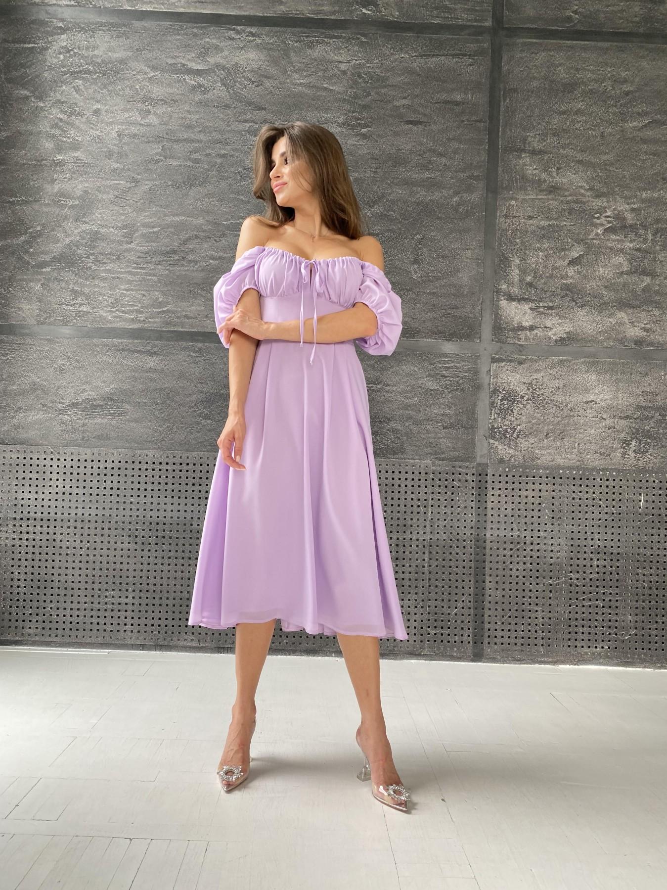 Кисес Миди платье из шифона креп 11443 АРТ. 48311 Цвет: Лаванда - фото 6, интернет магазин tm-modus.ru