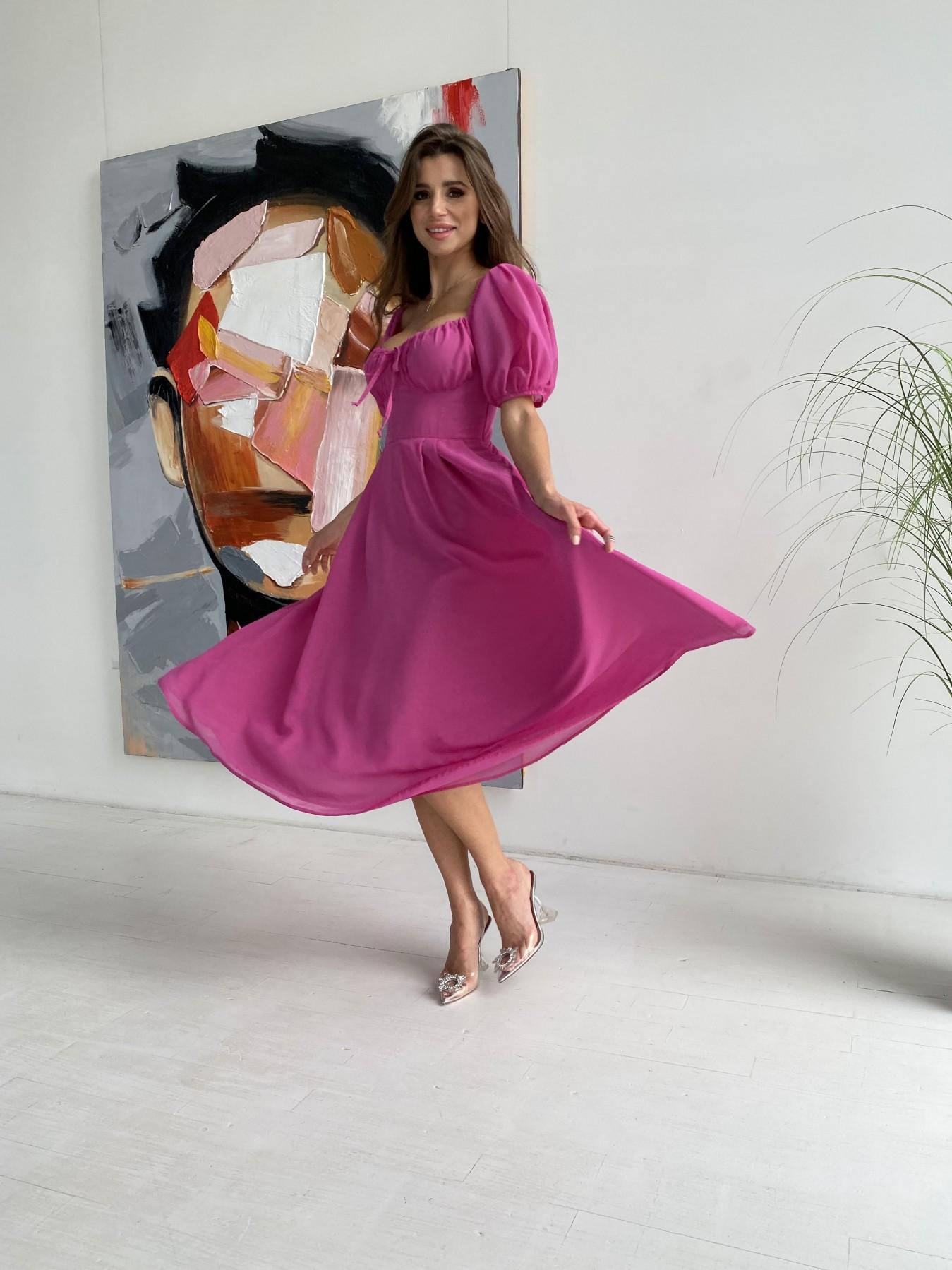Кисес Миди платье шифон Микро однотонный 11603 АРТ. 48282 Цвет: Фуксия 16 - фото 1, интернет магазин tm-modus.ru