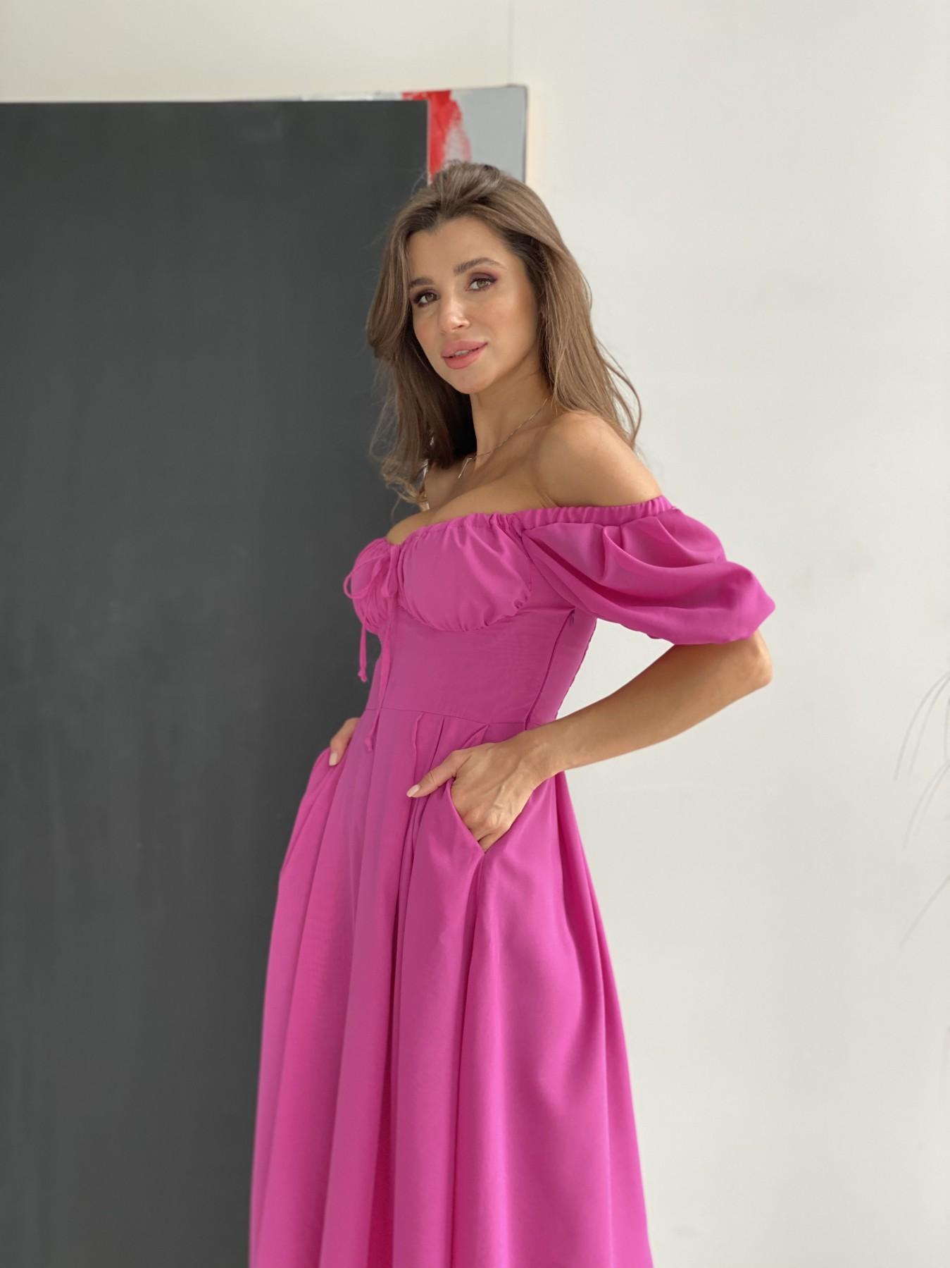 Кисес Миди платье шифон Микро однотонный 11603 АРТ. 48282 Цвет: Фуксия 16 - фото 3, интернет магазин tm-modus.ru