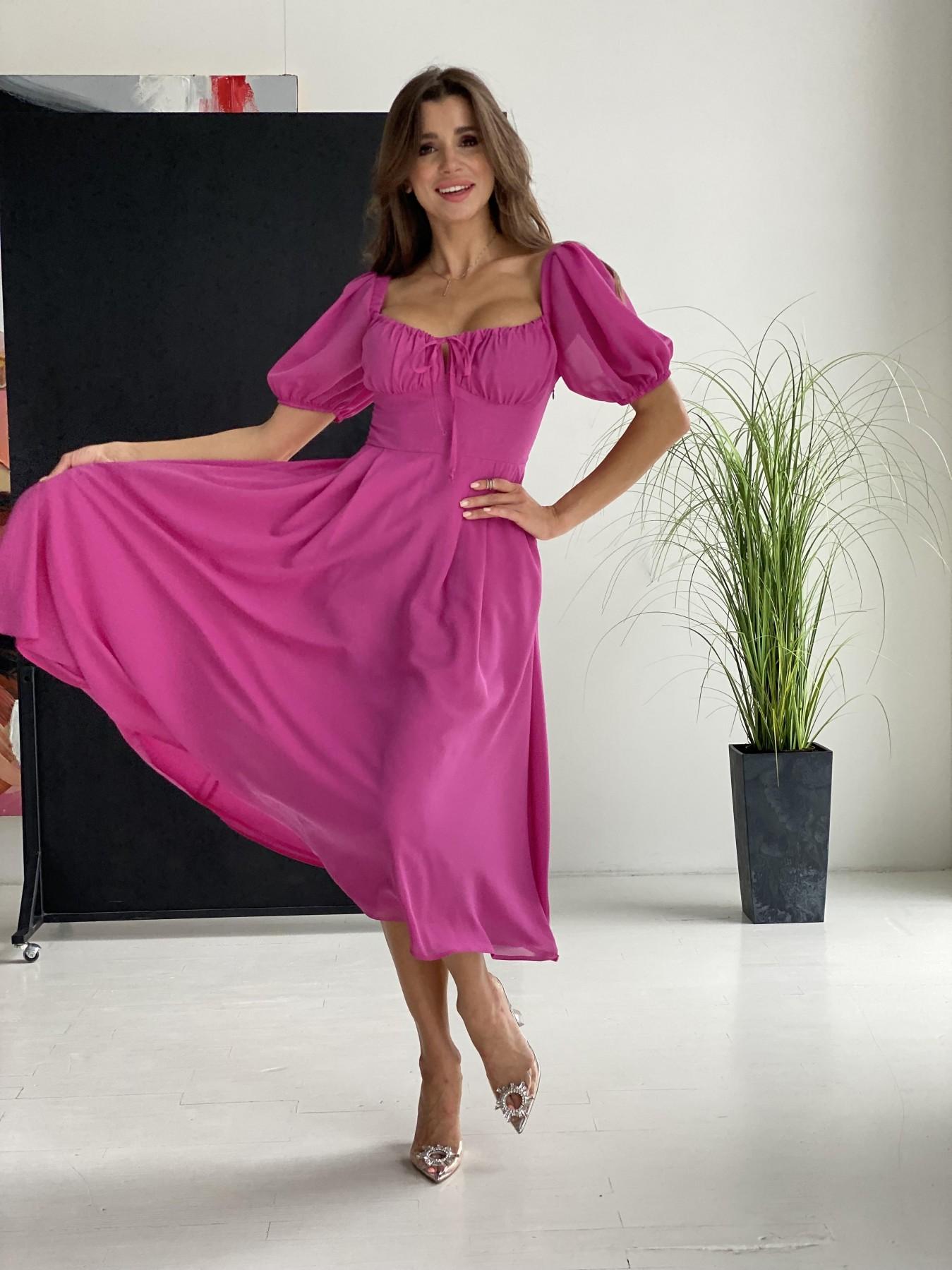 Кисес Миди платье шифон Микро однотонный 11603 АРТ. 48282 Цвет: Фуксия 16 - фото 5, интернет магазин tm-modus.ru