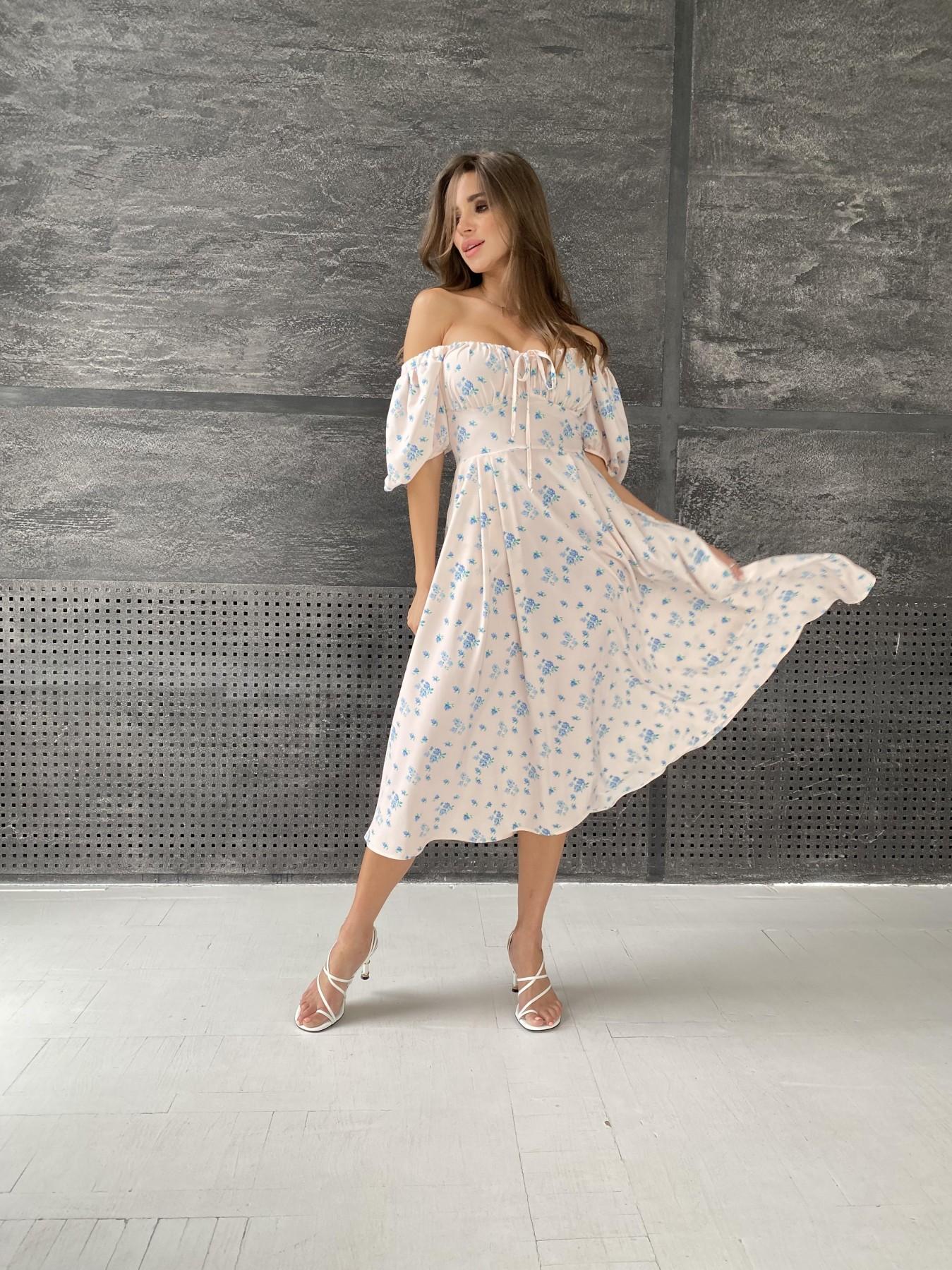 Кисес Миди платье из софт ткани в принт 11348 АРТ. 48187 Цвет: Пудра/голубойЦветыНаВетке - фото 2, интернет магазин tm-modus.ru