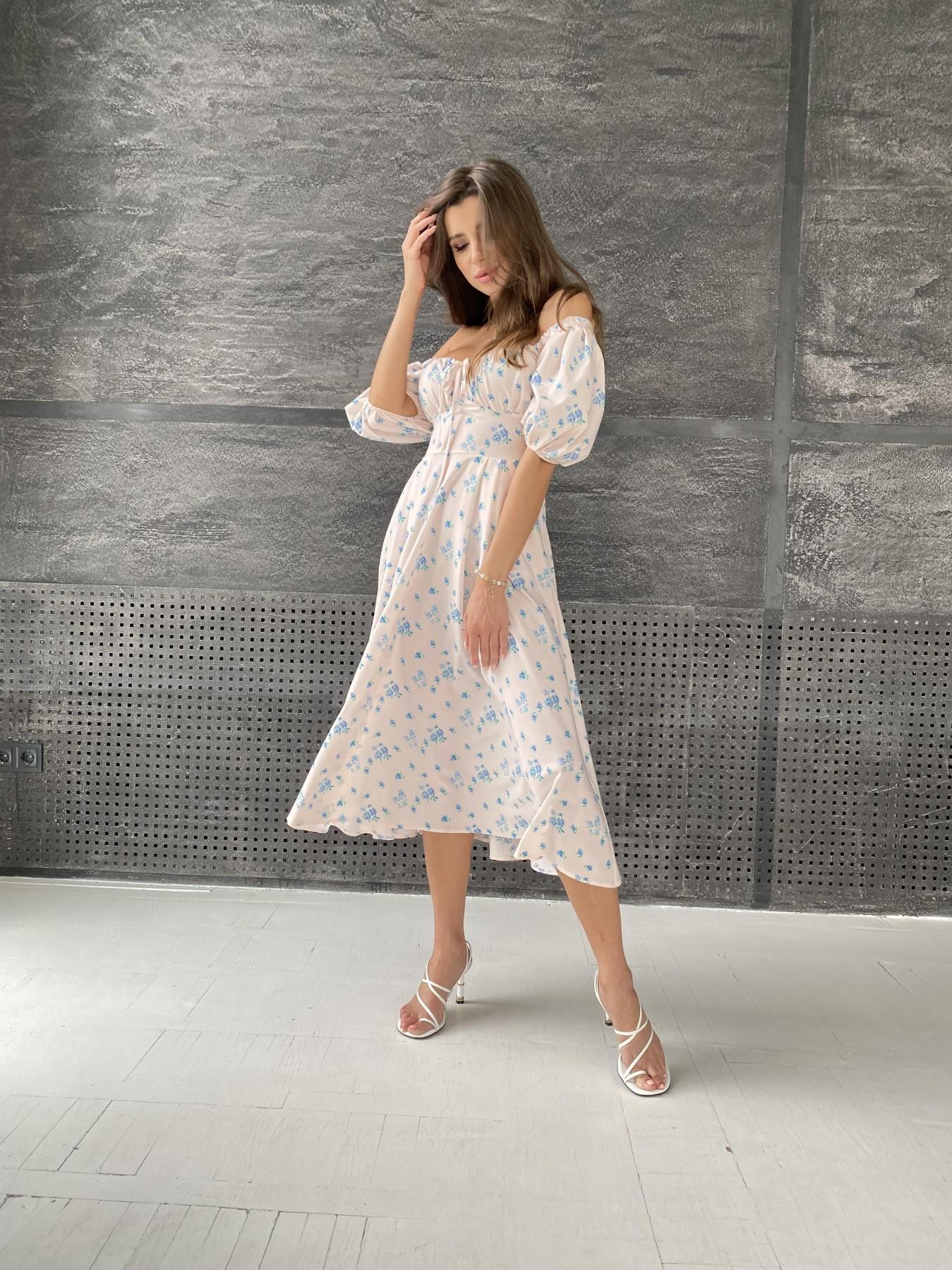 Кисес Миди платье из софт ткани в принт 11348 АРТ. 48187 Цвет: Пудра/голубойЦветыНаВетке - фото 3, интернет магазин tm-modus.ru