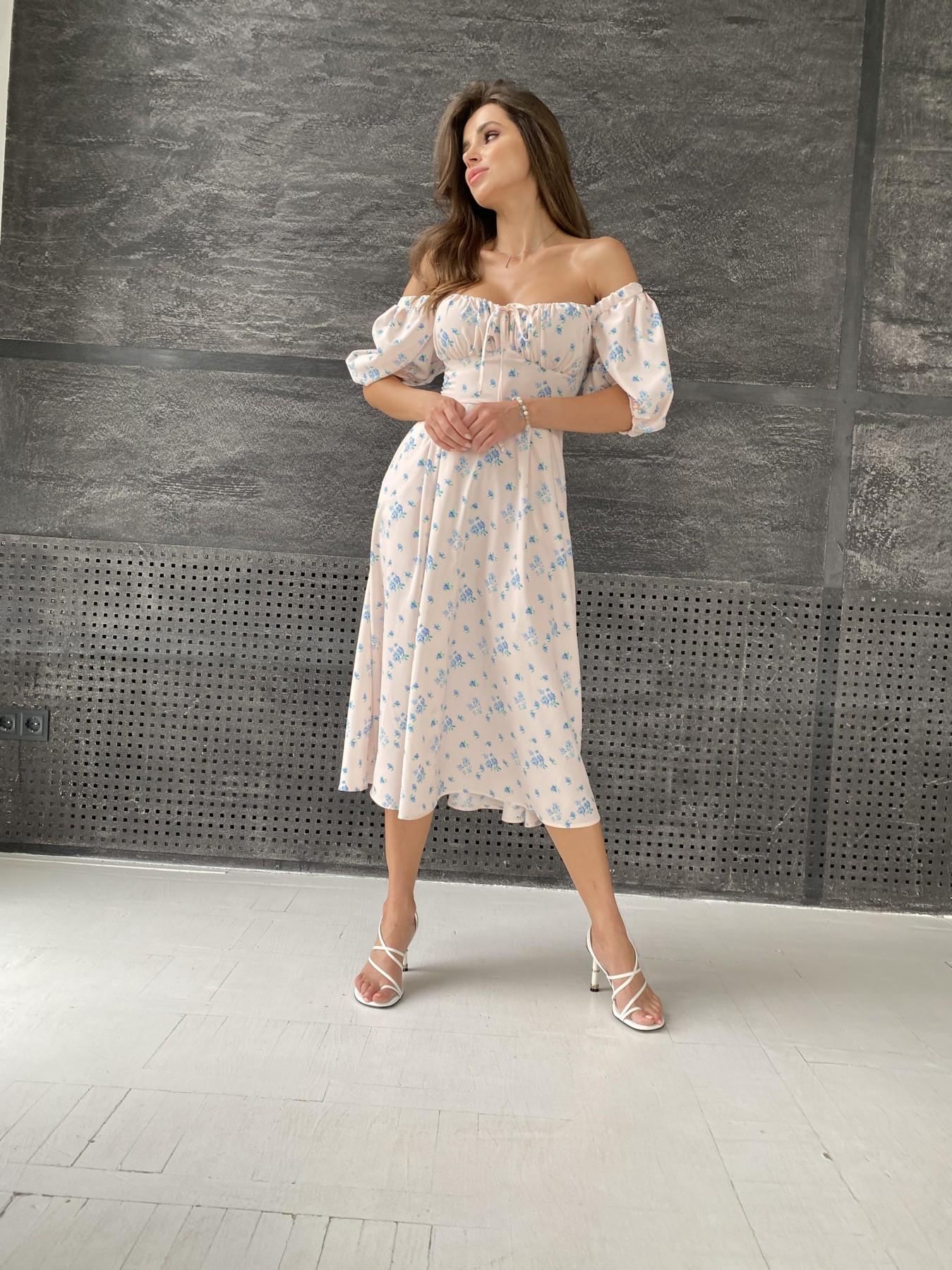 Кисес Миди платье из софт ткани в принт 11348 АРТ. 48187 Цвет: Пудра/голубойЦветыНаВетке - фото 4, интернет магазин tm-modus.ru