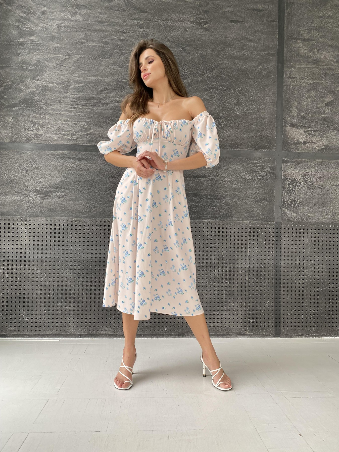 Кисес Миди платье из софт ткани в принт 11348 АРТ. 48187 Цвет: Пудра/голубойЦветыНаВетке - фото 6, интернет магазин tm-modus.ru