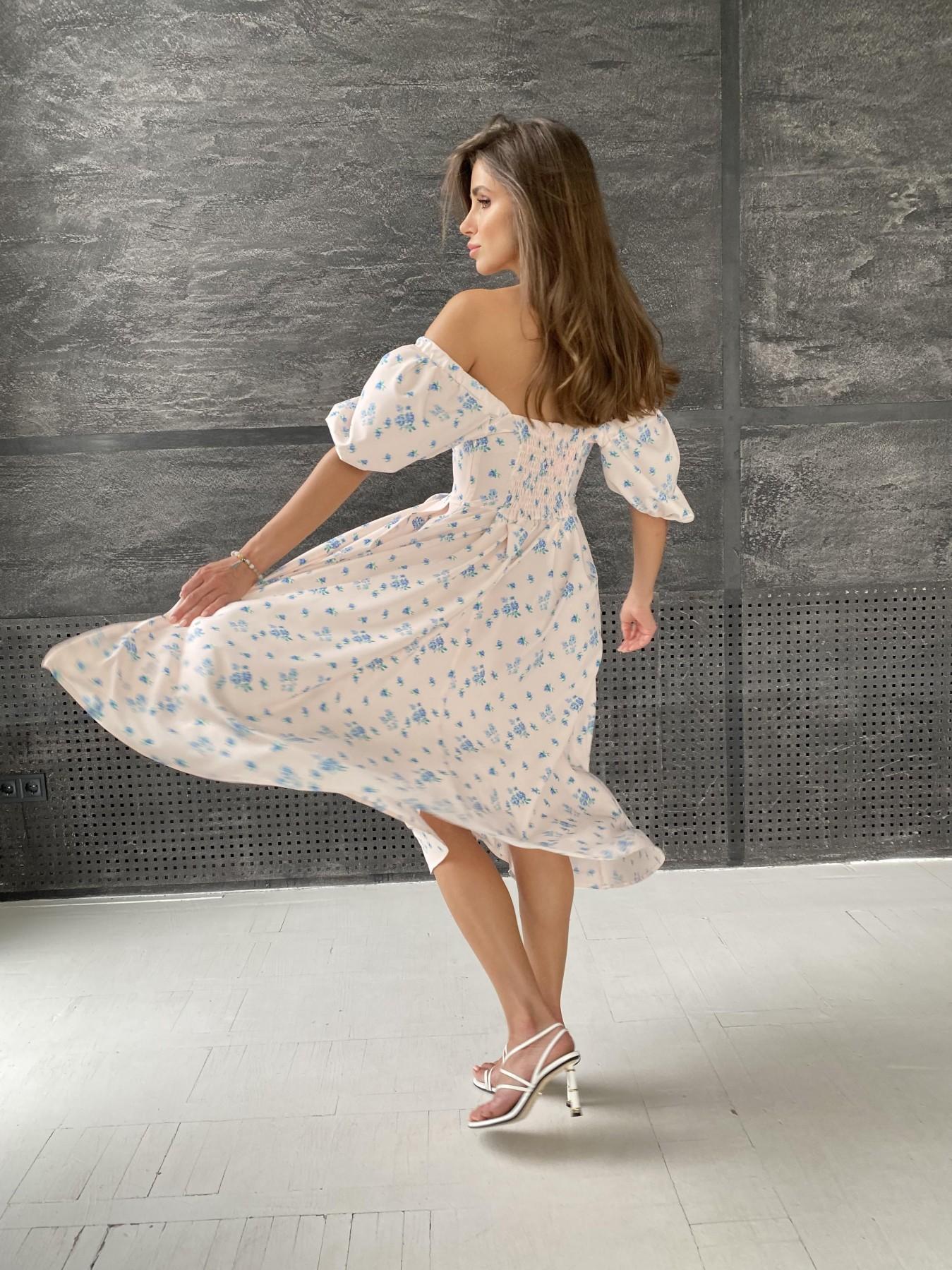 Кисес Миди платье из софт ткани в принт 11348 АРТ. 48187 Цвет: Пудра/голубойЦветыНаВетке - фото 7, интернет магазин tm-modus.ru