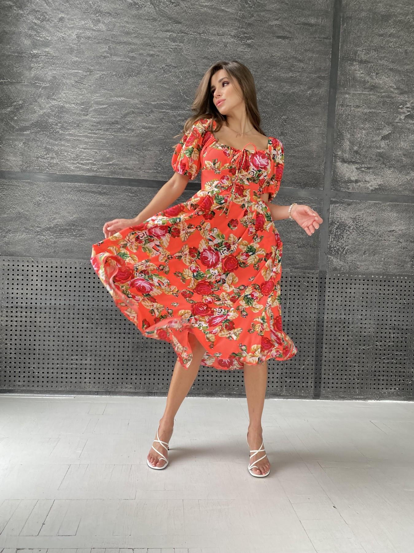 Кисес Миди платье из креп шифона в принт 11575 АРТ. 48316 Цвет: Коралл вышивка 4 - фото 1, интернет магазин tm-modus.ru