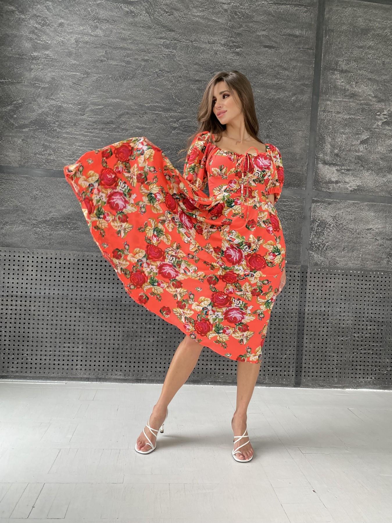 Платья от украинского производителя Кисес Миди платье из креп шифона в принт 11575