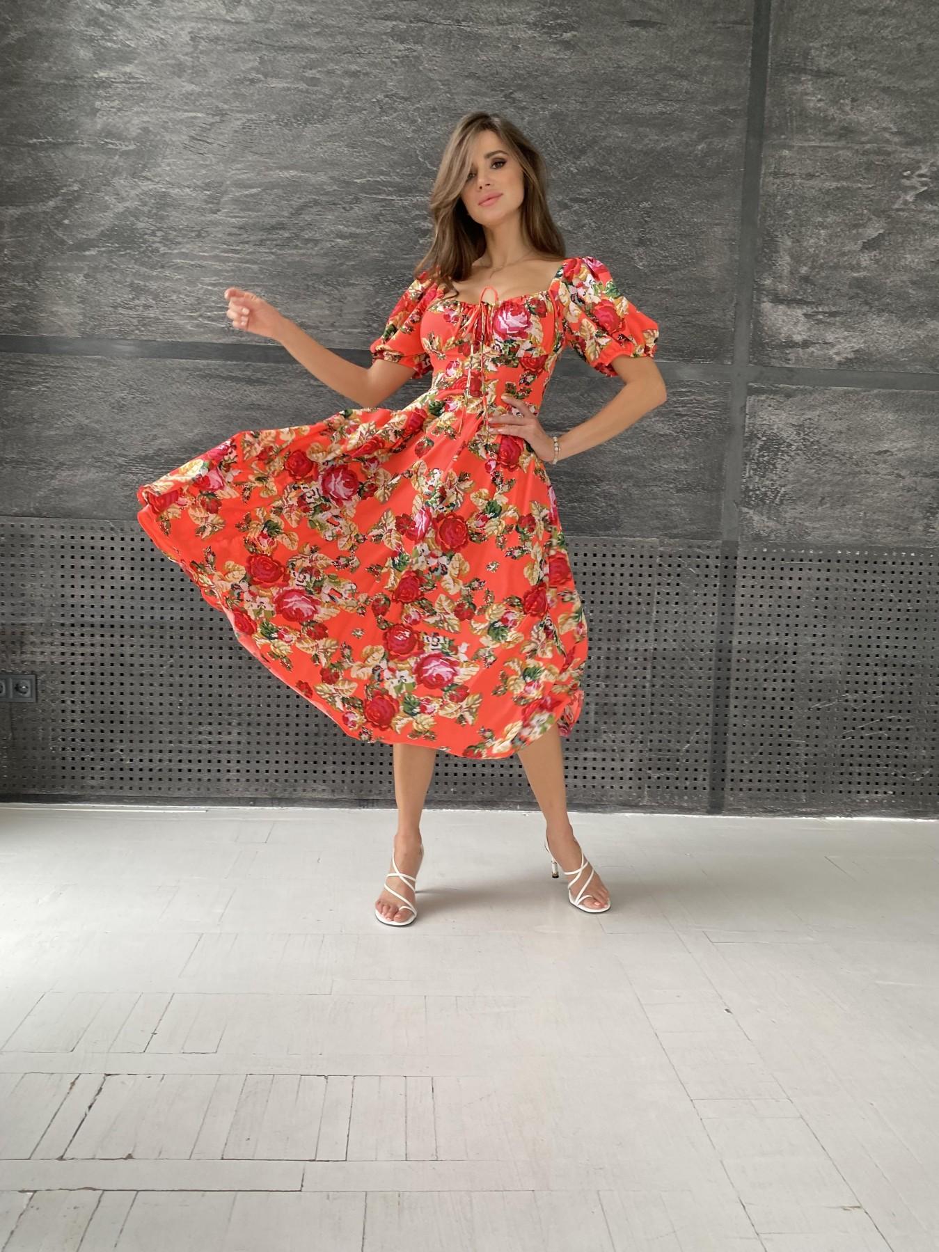 Кисес Миди платье из креп шифона в принт 11575 АРТ. 48316 Цвет: Коралл вышивка 4 - фото 4, интернет магазин tm-modus.ru