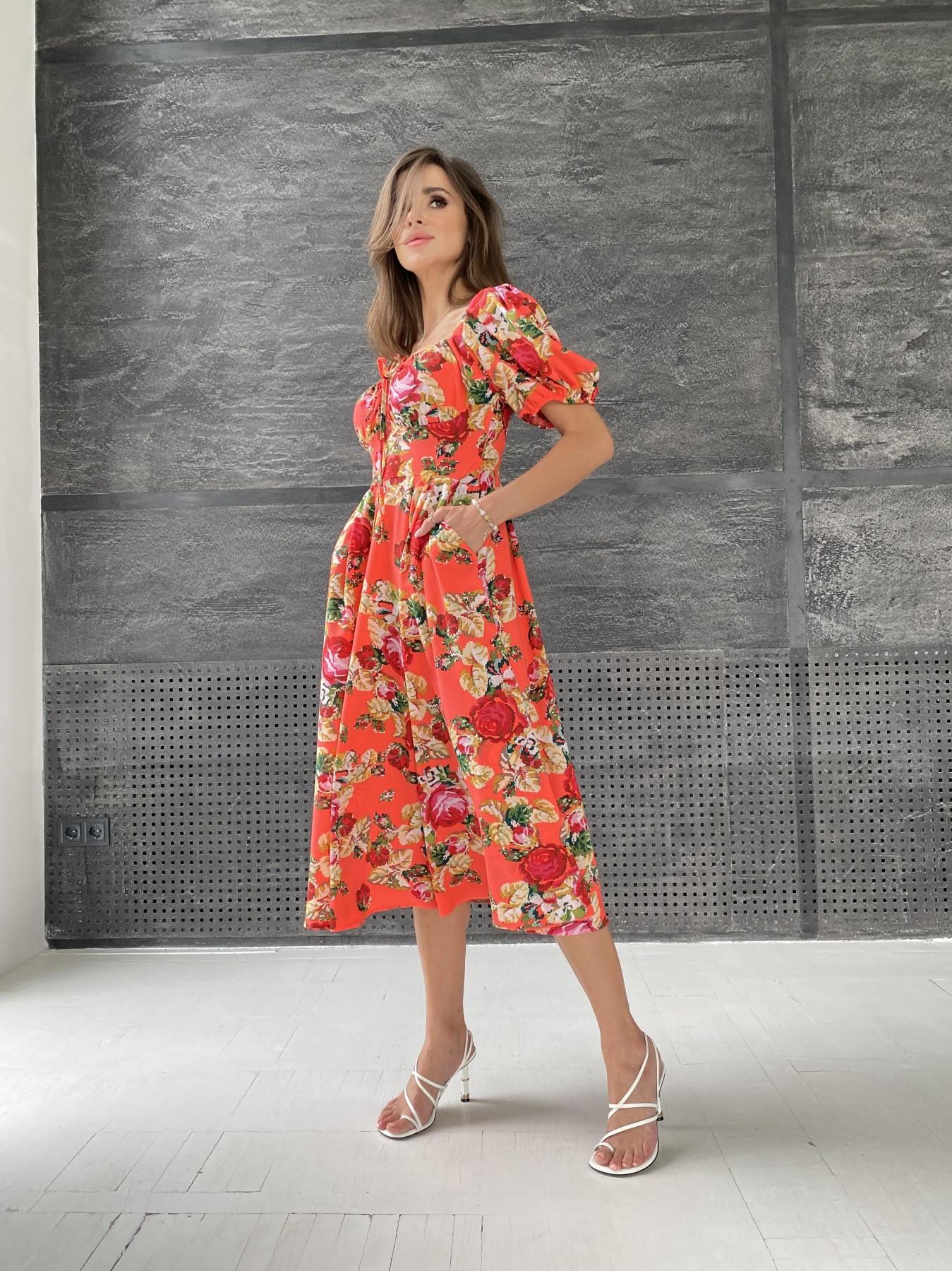 Кисес Миди платье из креп шифона в принт 11575 АРТ. 48316 Цвет: Коралл вышивка 4 - фото 6, интернет магазин tm-modus.ru