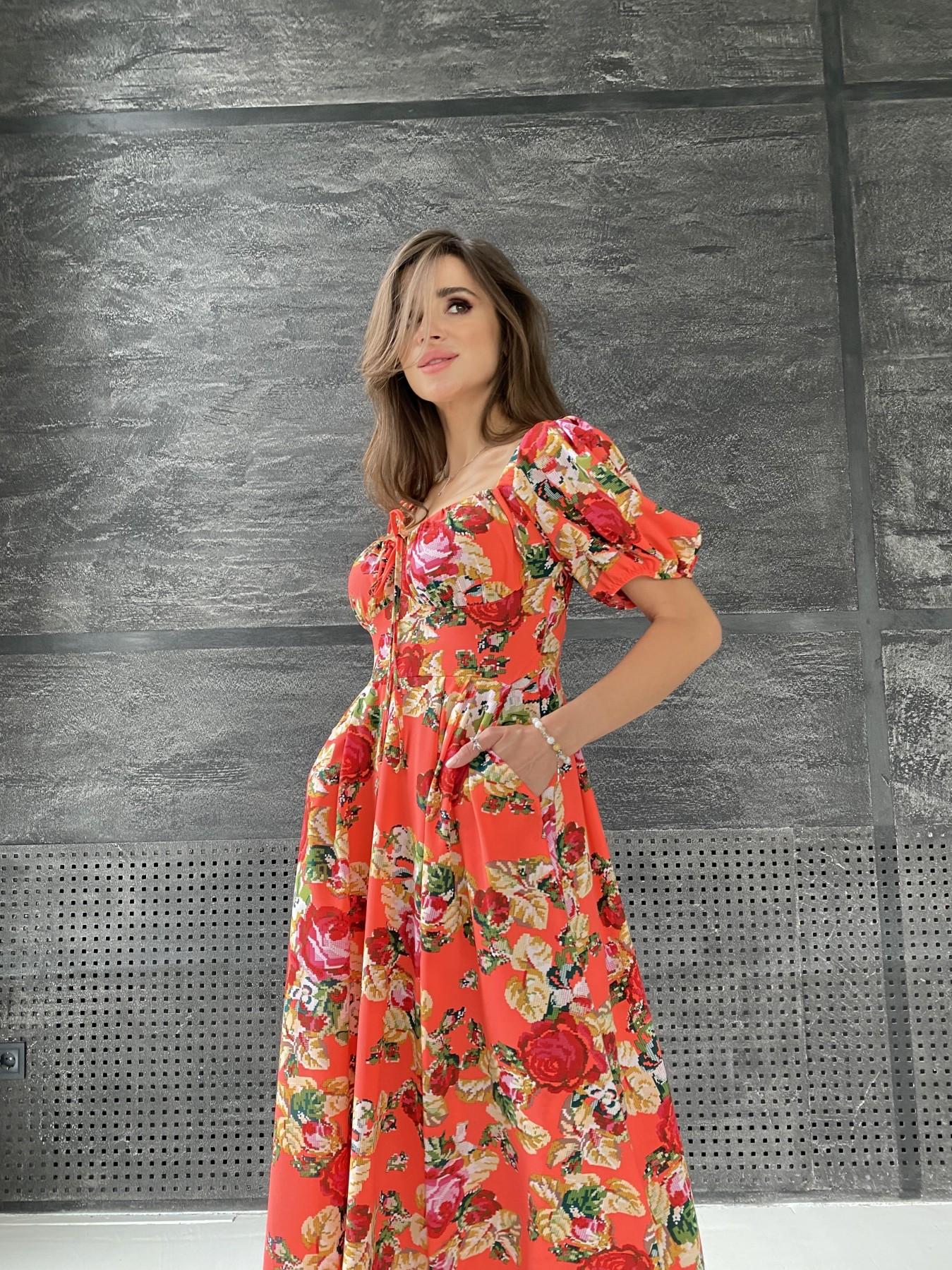 Кисес Миди платье из креп шифона в принт 11575 АРТ. 48316 Цвет: Коралл вышивка 4 - фото 7, интернет магазин tm-modus.ru