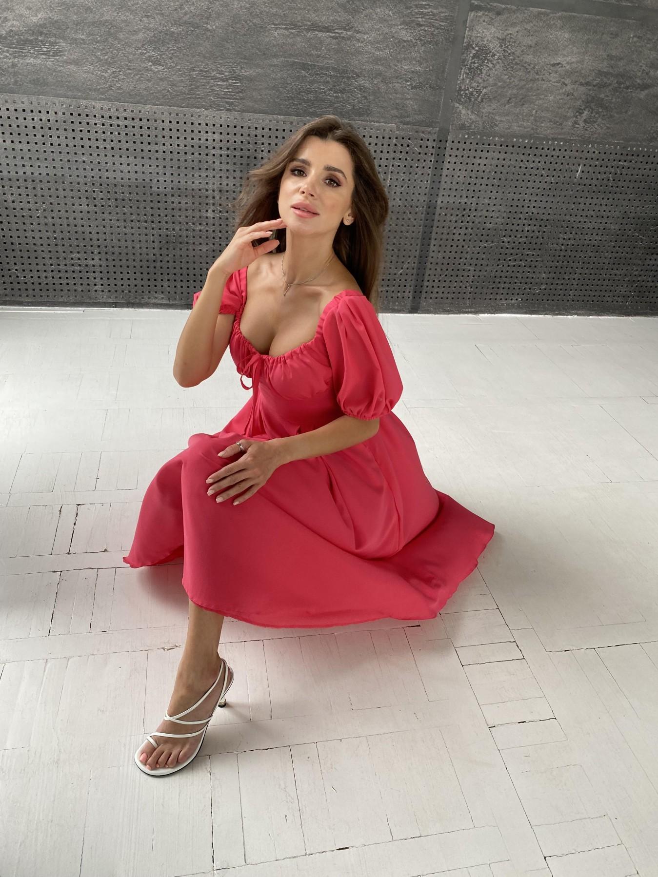 Кисес Миди платье из шифона креп 11443 АРТ. 48314 Цвет: Коралл - фото 2, интернет магазин tm-modus.ru